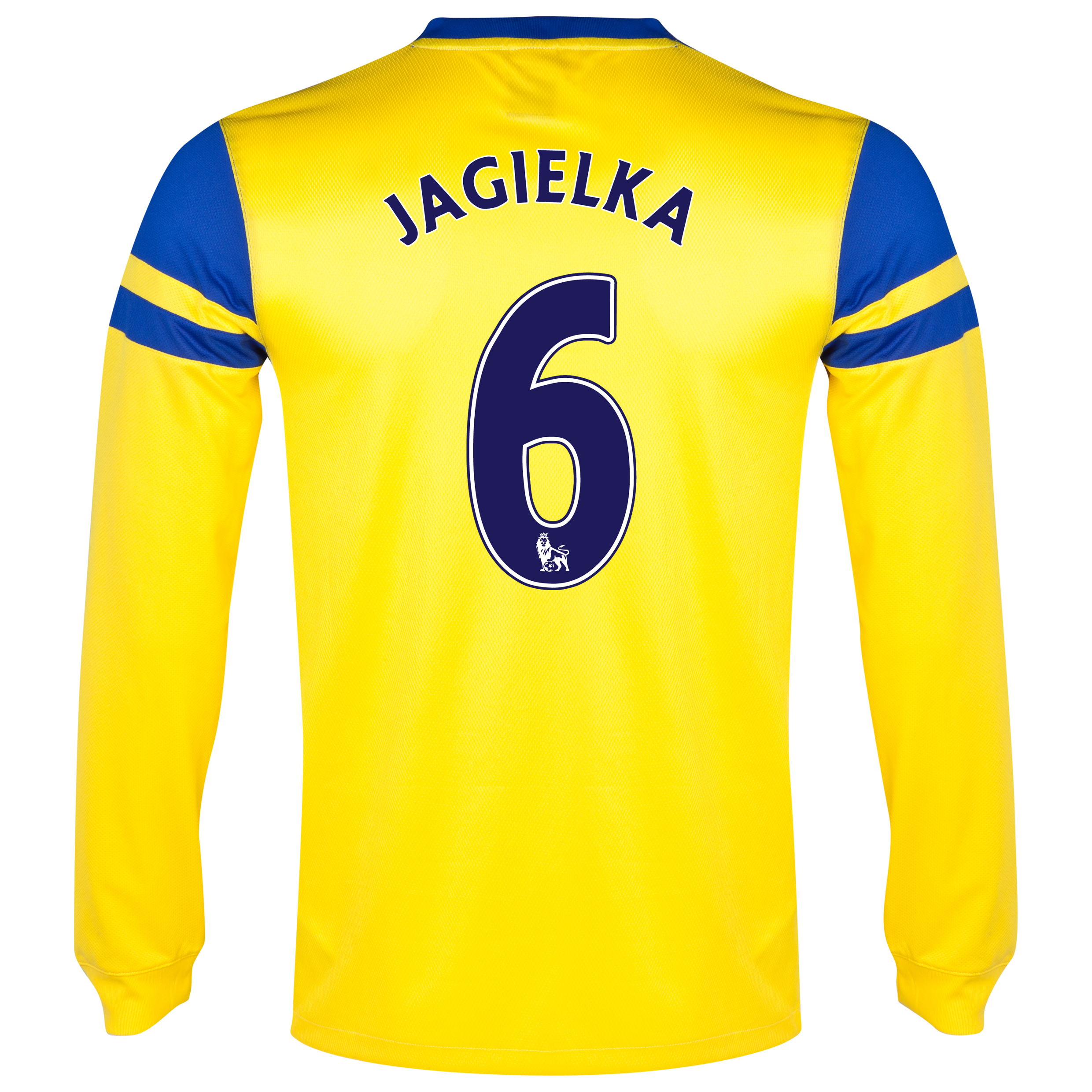 Everton Away Shirt 2013/14 - Junior - Long Sleeved Yellow with Jagielka 6 printing