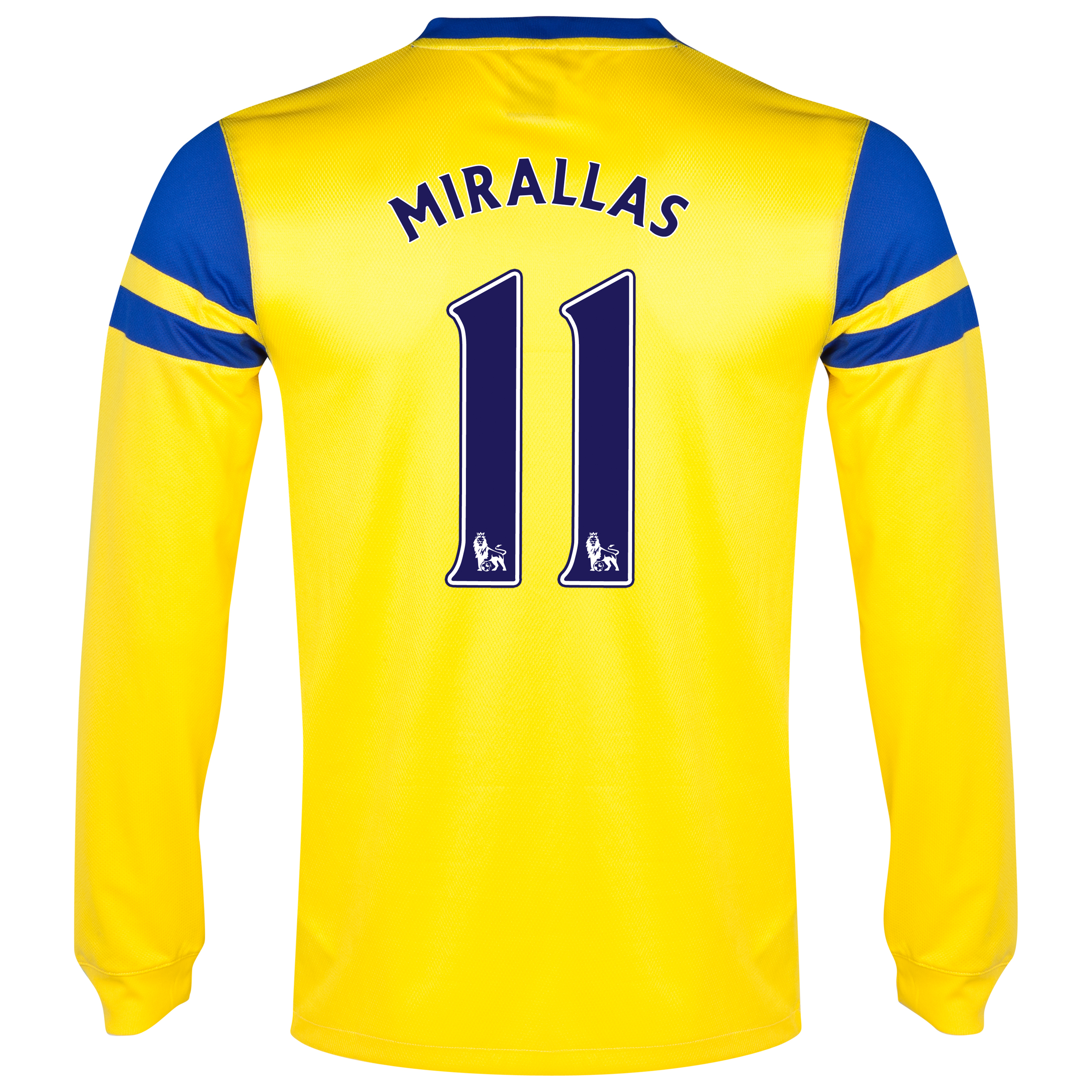 Everton Away Shirt 2013/14 - Junior - Long Sleeved Yellow with Mirallas 11 printing
