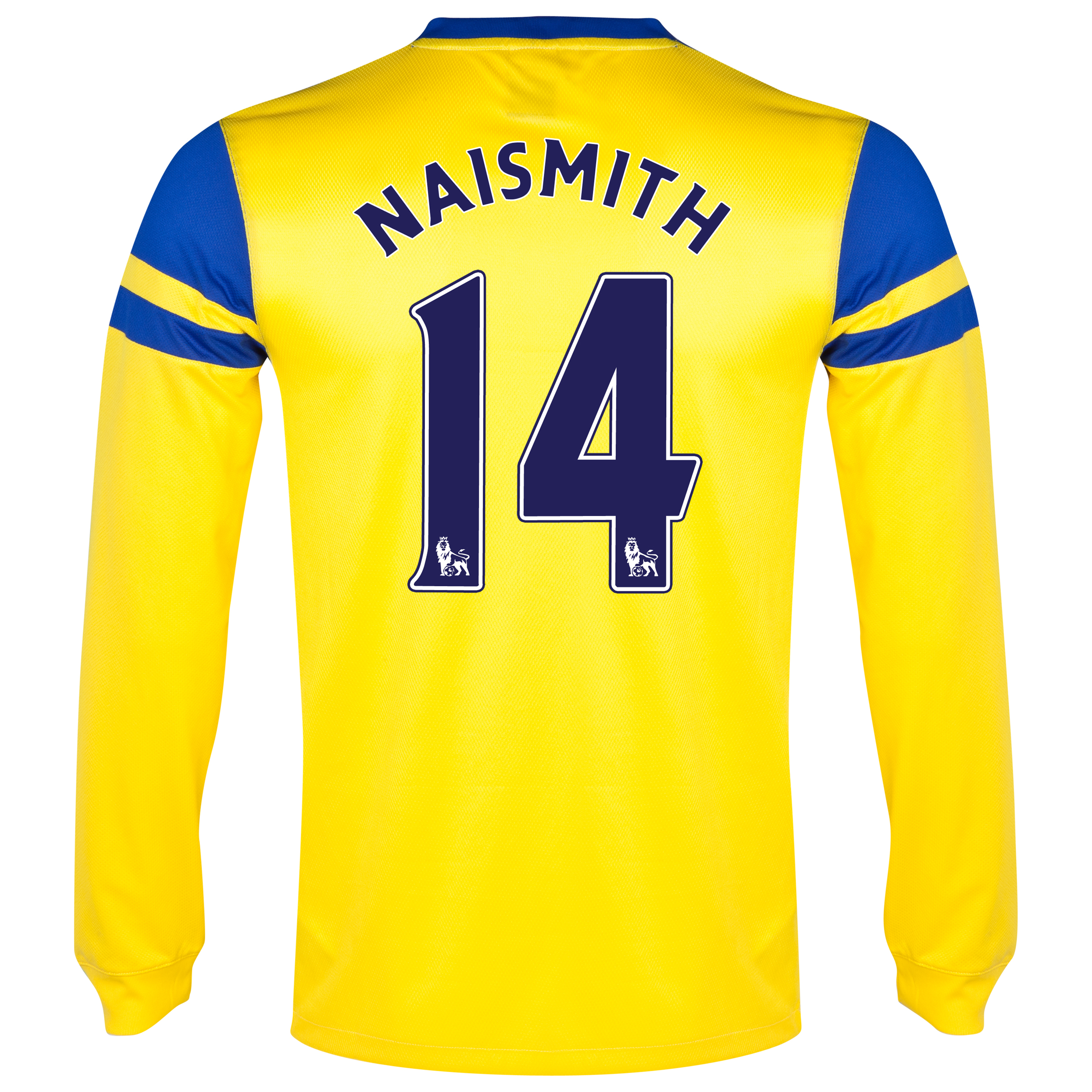 Everton Away Shirt 2013/14 - Junior - Long Sleeved Yellow with Naismith 14 printing
