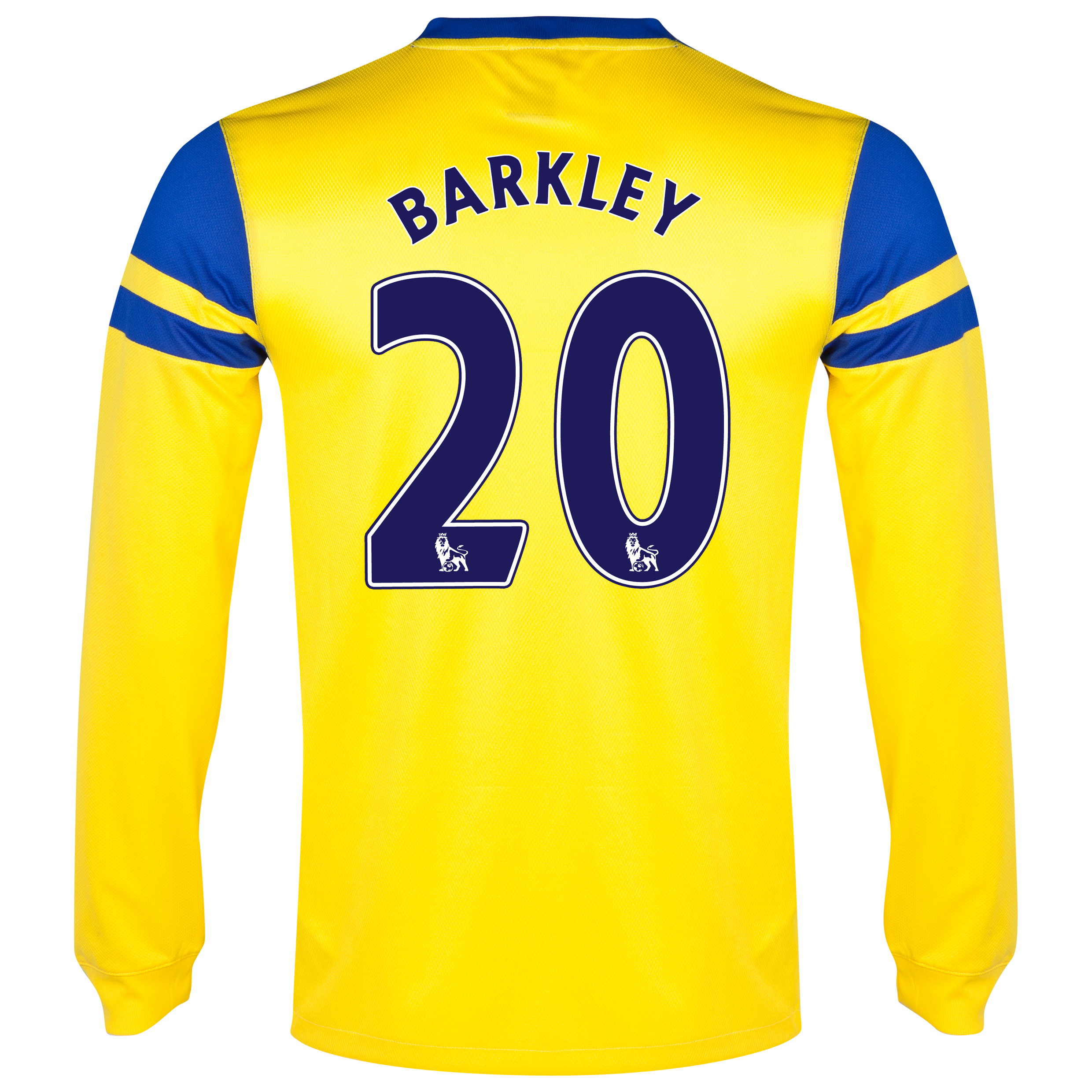 Everton Away Shirt 2013/14 - Junior - Long Sleeved Yellow with Barkley 20 printing