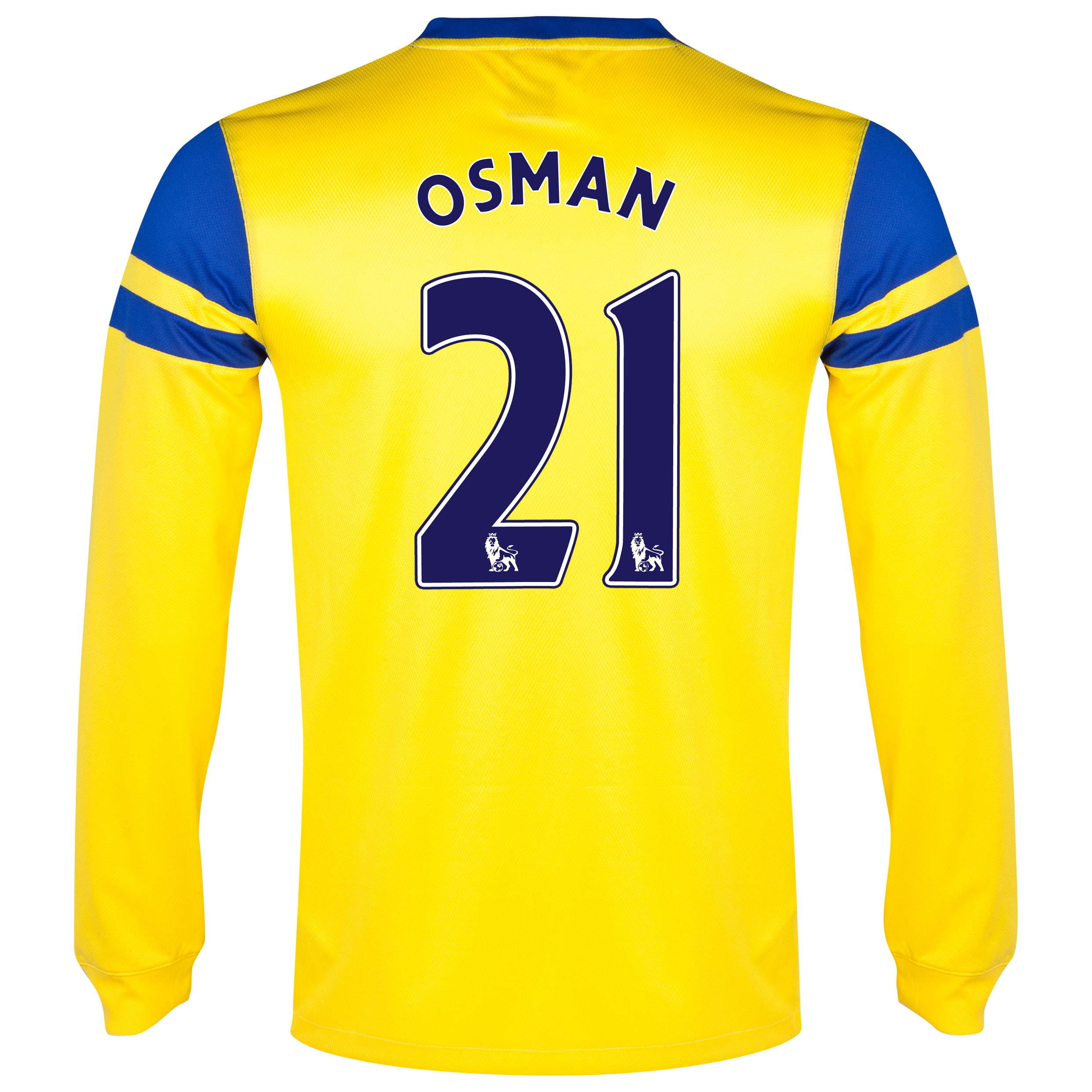 Everton Away Shirt 2013/14 - Junior - Long Sleeved Yellow with Osman 21 printing