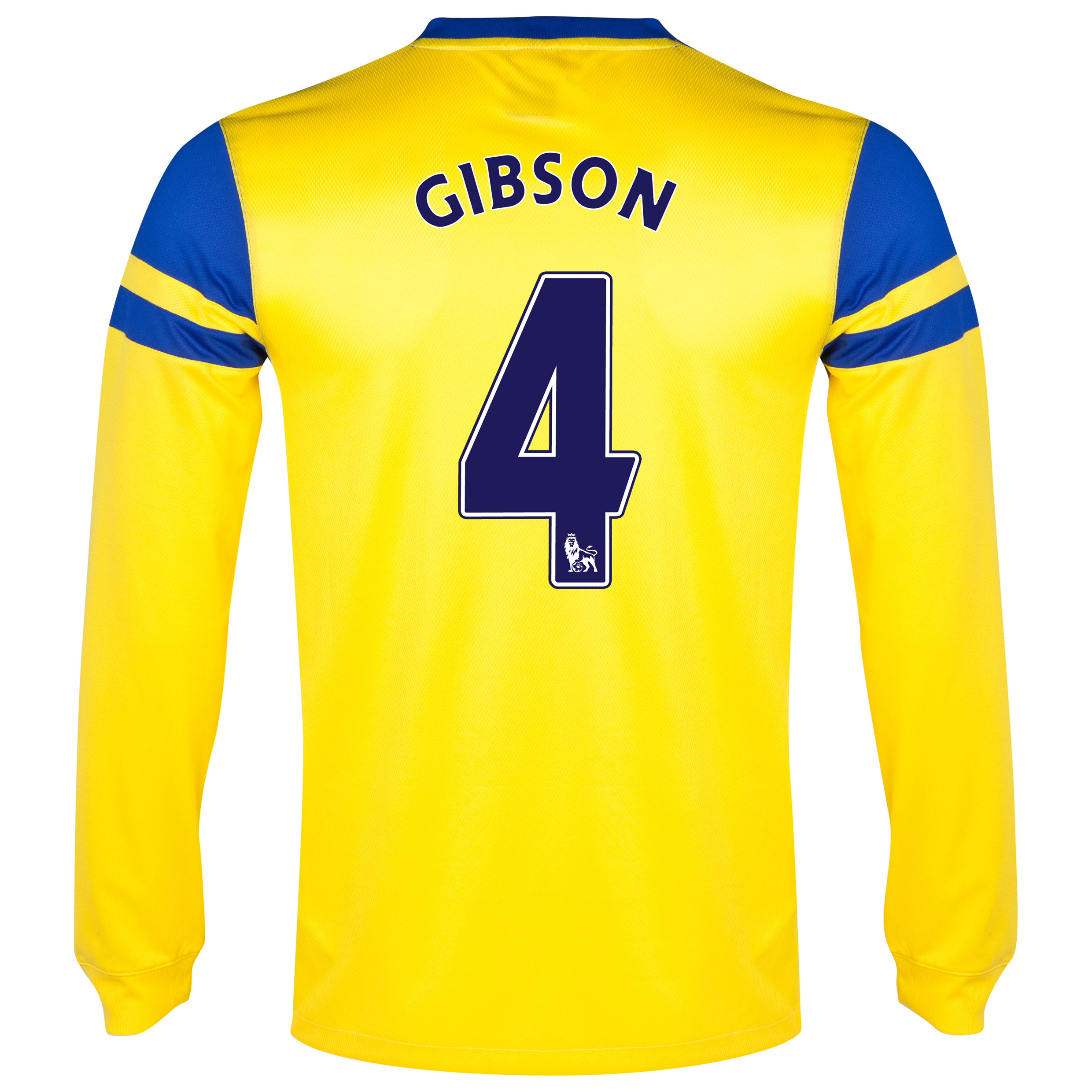Everton Away Shirt 2013/14 - Long Sleeved Yellow with Gibson 4 printing