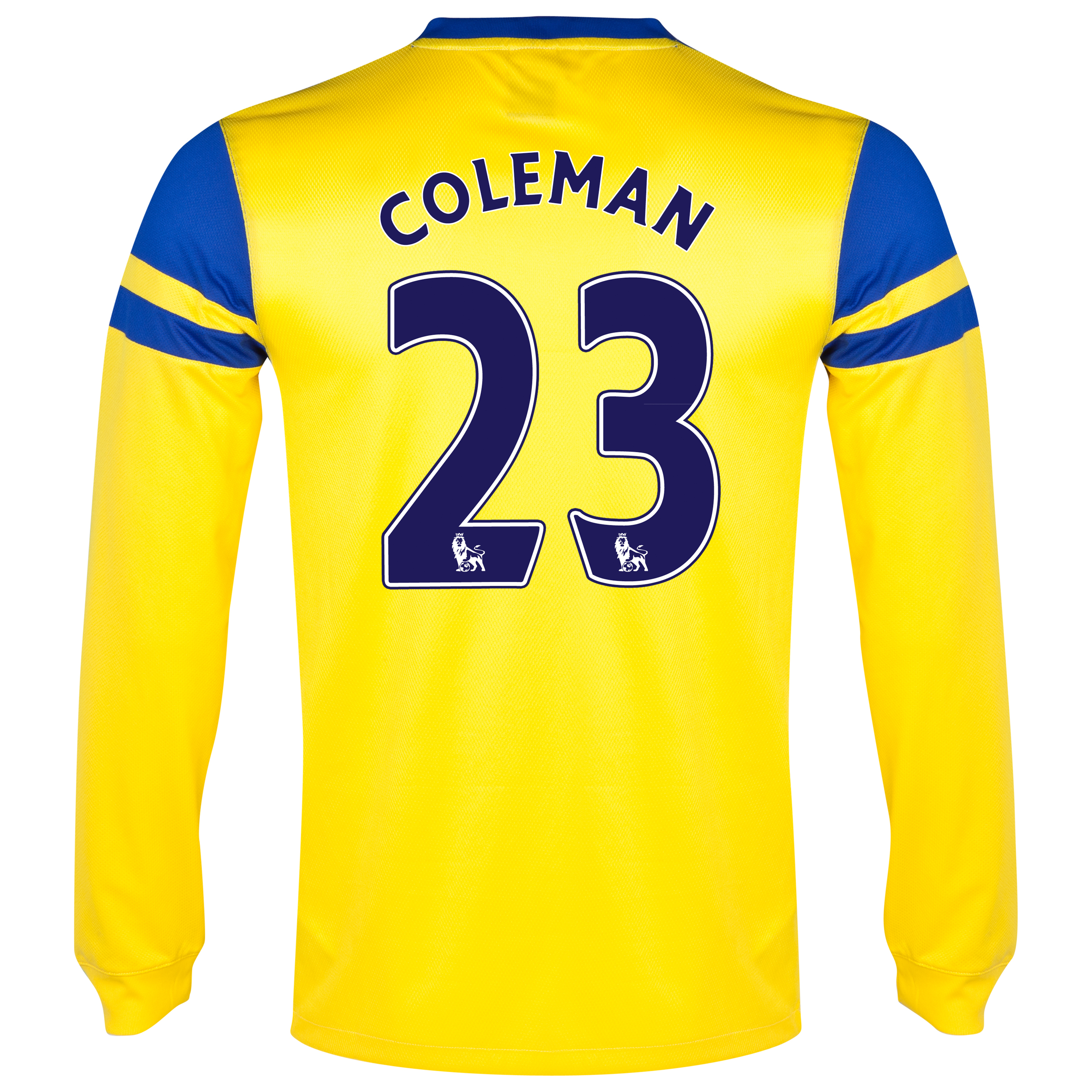 Everton Away Shirt 2013/14 - Long Sleeved Yellow with Coleman 23 printing
