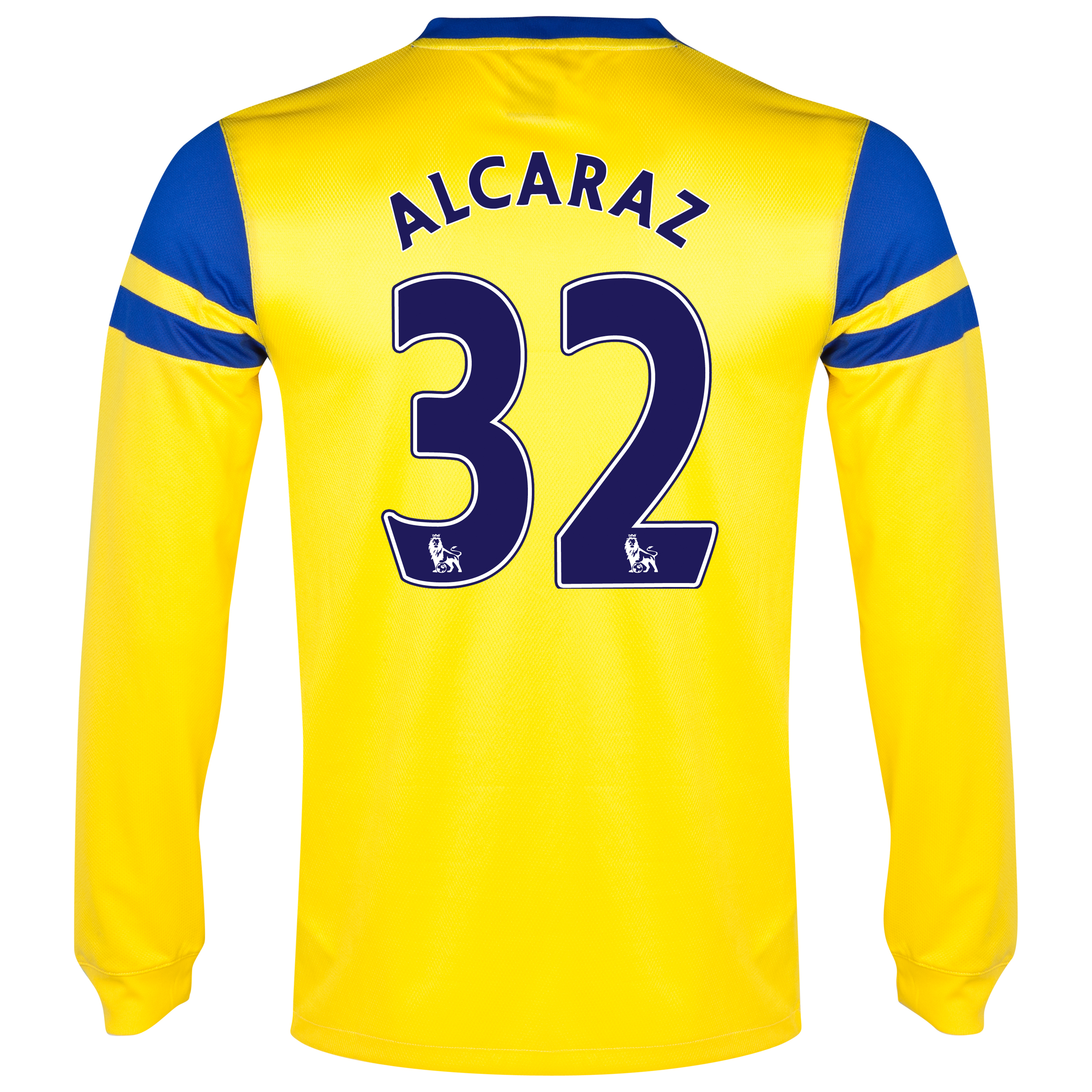 Everton Away Shirt 2013/14 - Long Sleeved Yellow with Alcaraz 32 printing
