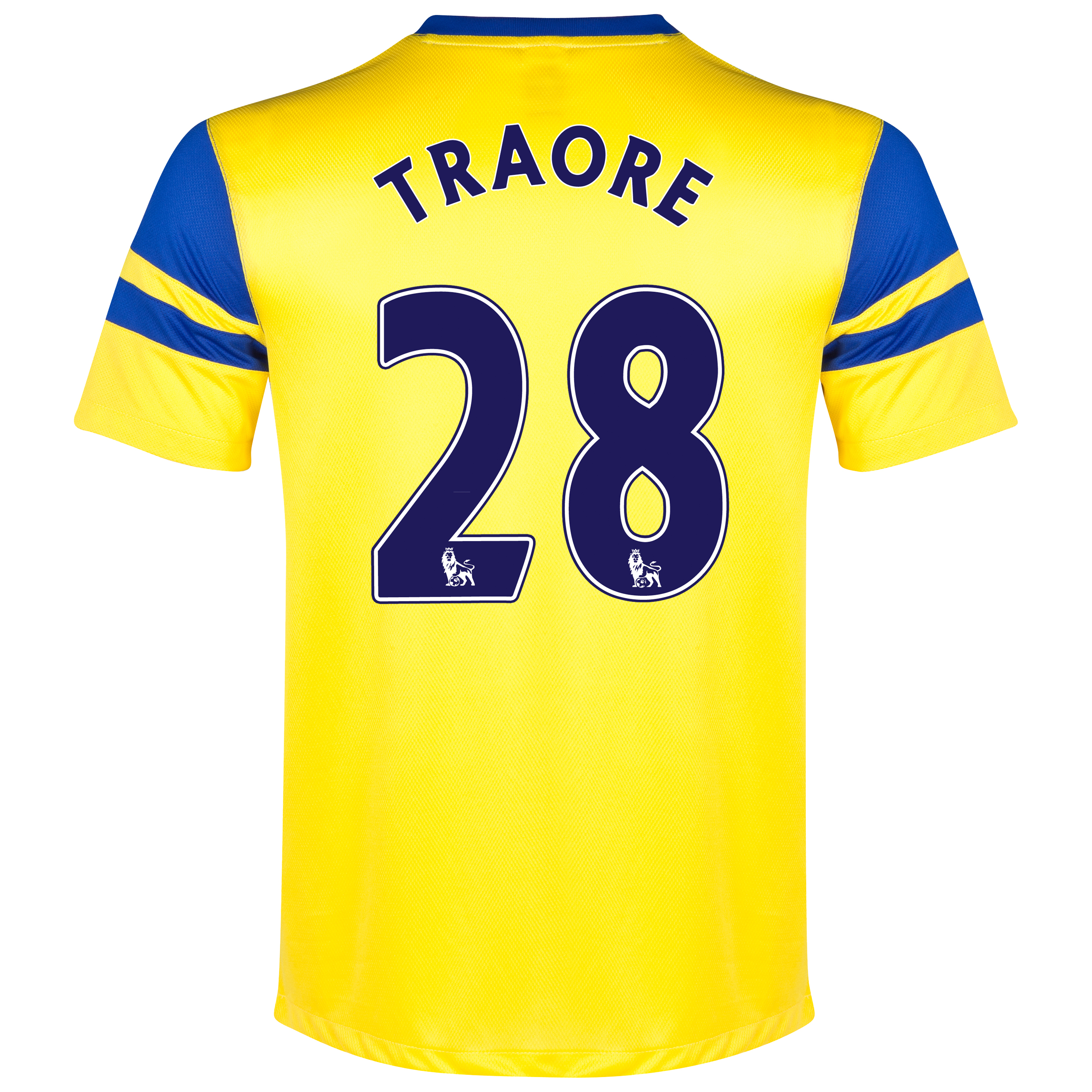 Everton Away Shirt 2013/14 - Junior Yellow with Traore 28 printing