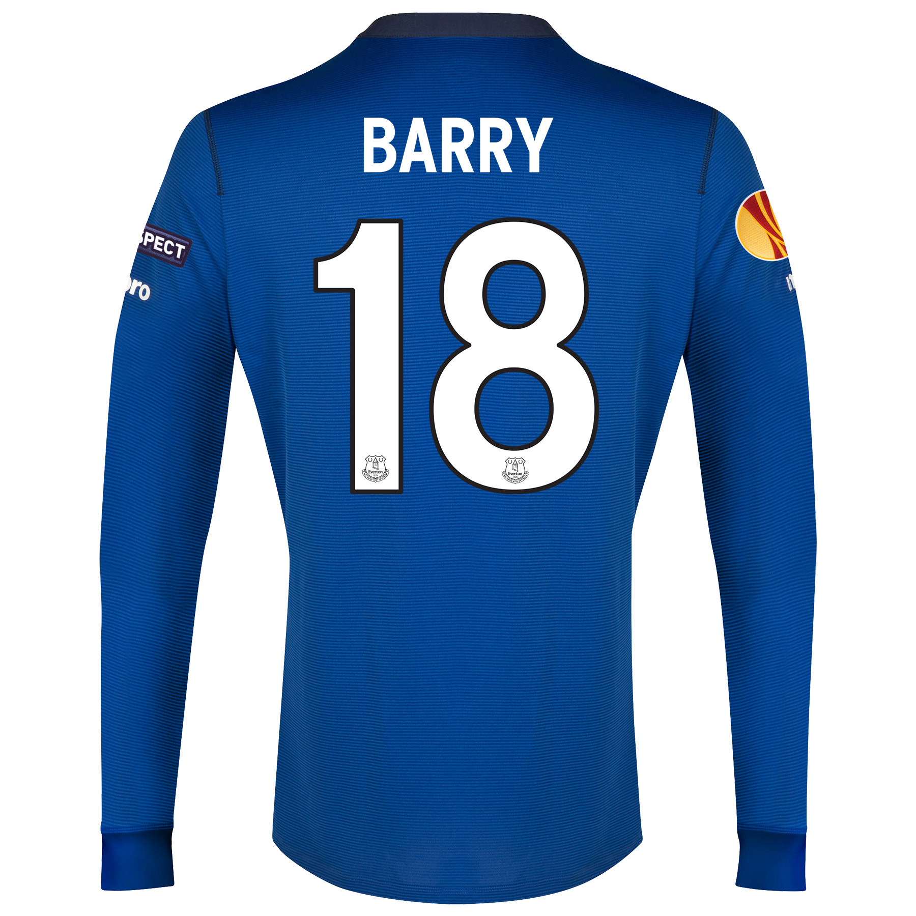 Everton UEFA Europa League Home Shirt 2014/15 LS with Barry 18 printing