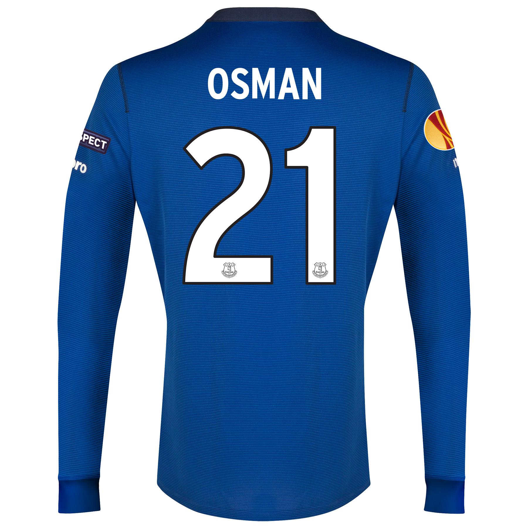 Everton UEFA Europa League Home Shirt 2014/15 LS with Osman 21 printing