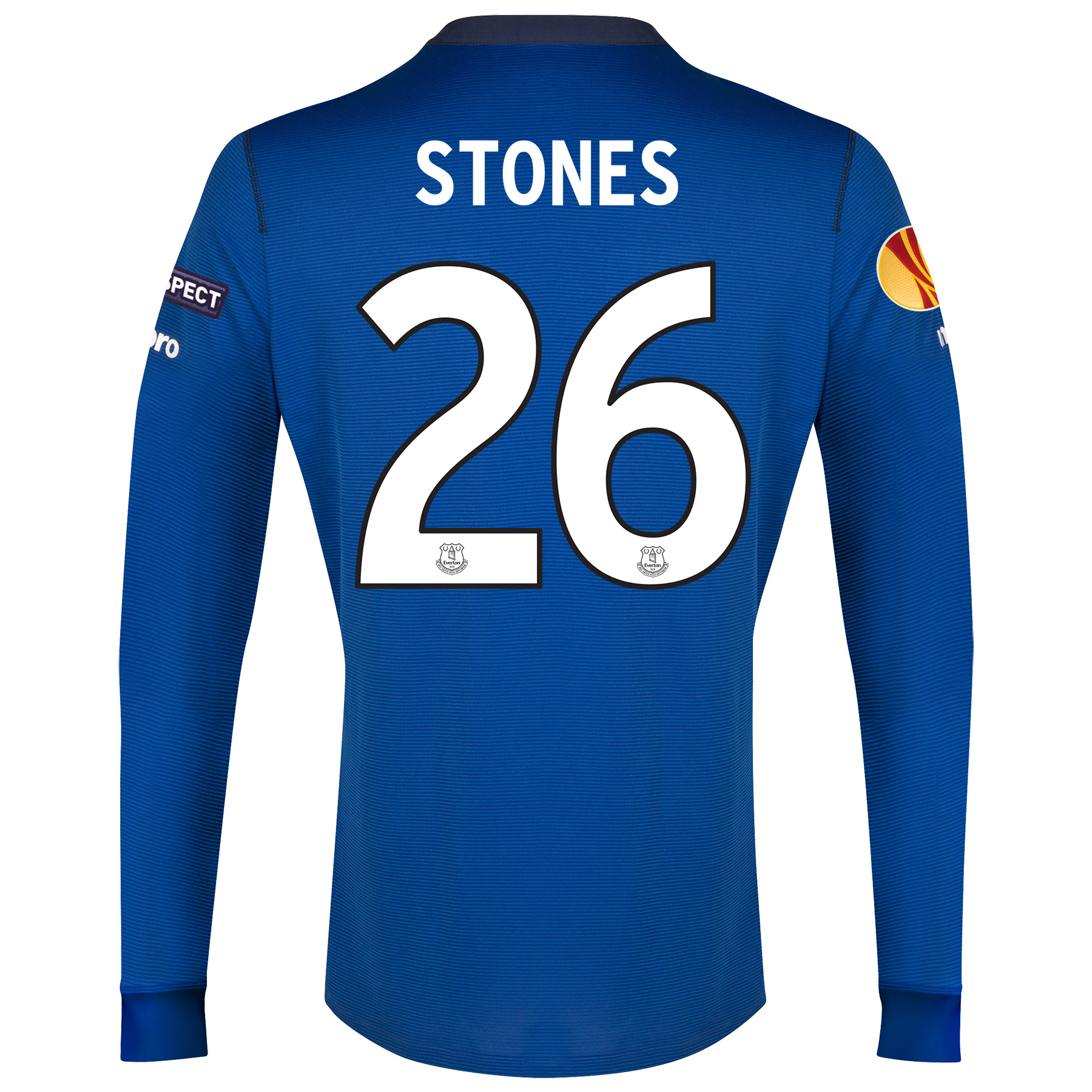 Everton UEFA Europa League Home Shirt 2014/15 LS with Stones 26 printing