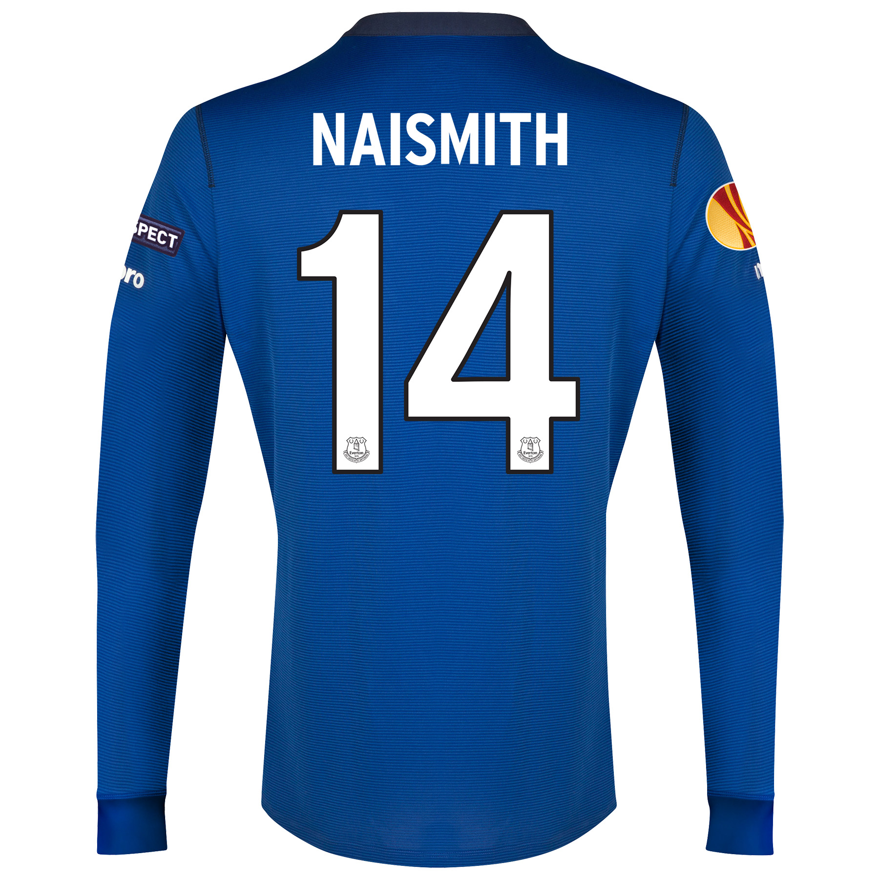 Everton UEFA Europa League Home Shirt 2014/15 LS - Junior with Naismith 14 printing