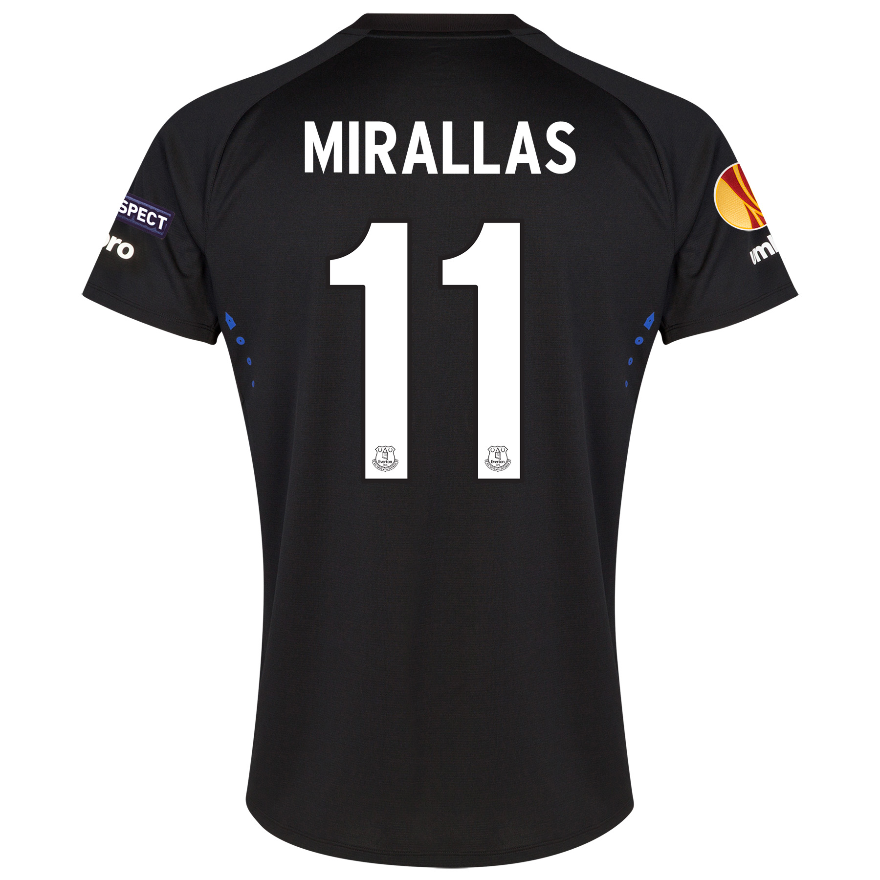 Everton UEFA Europa League Away Shirt 2014/15 with Mirallas 11 printin