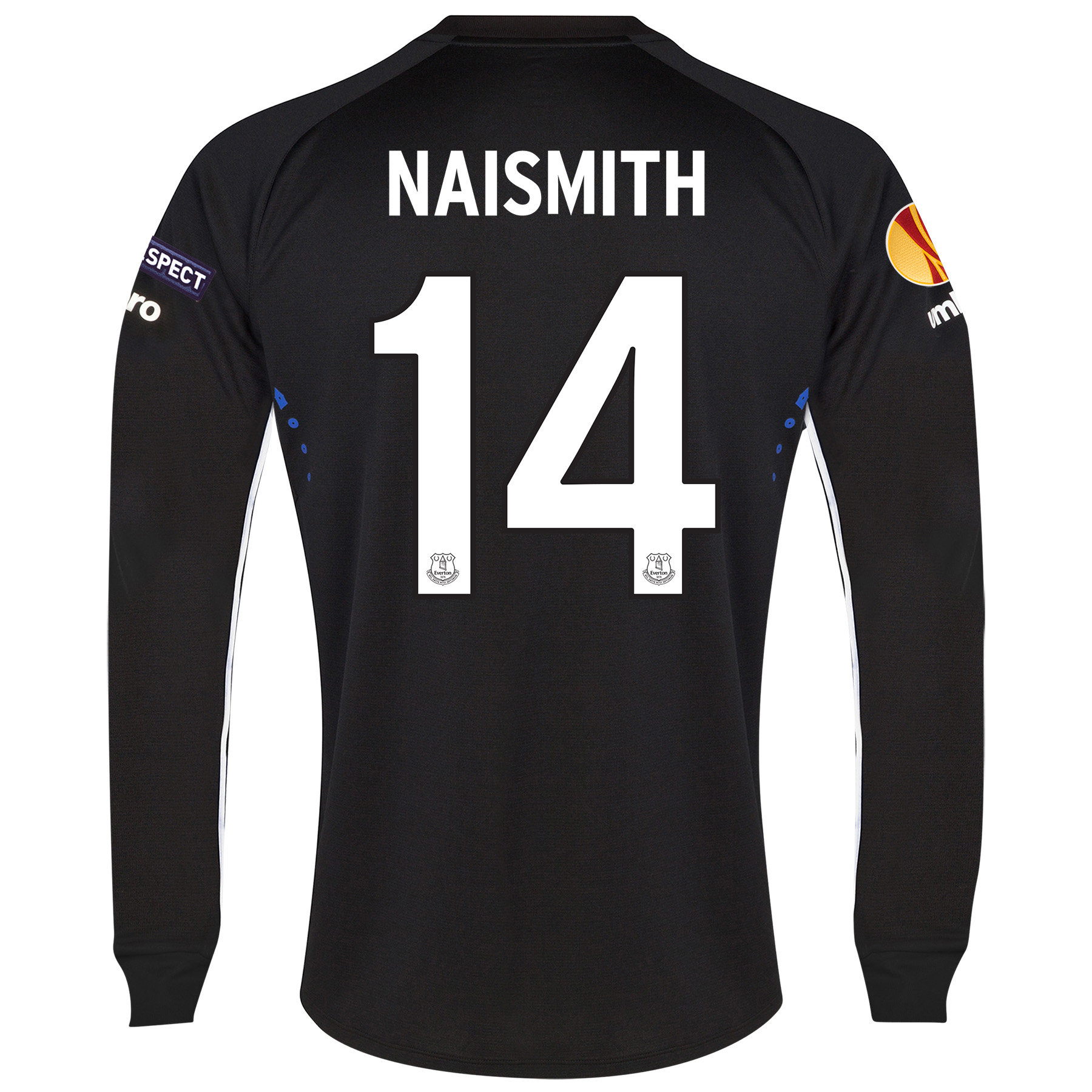 Everton UEFA Europa League Away Shirt 2014/15 LS with Naismith 14 printing