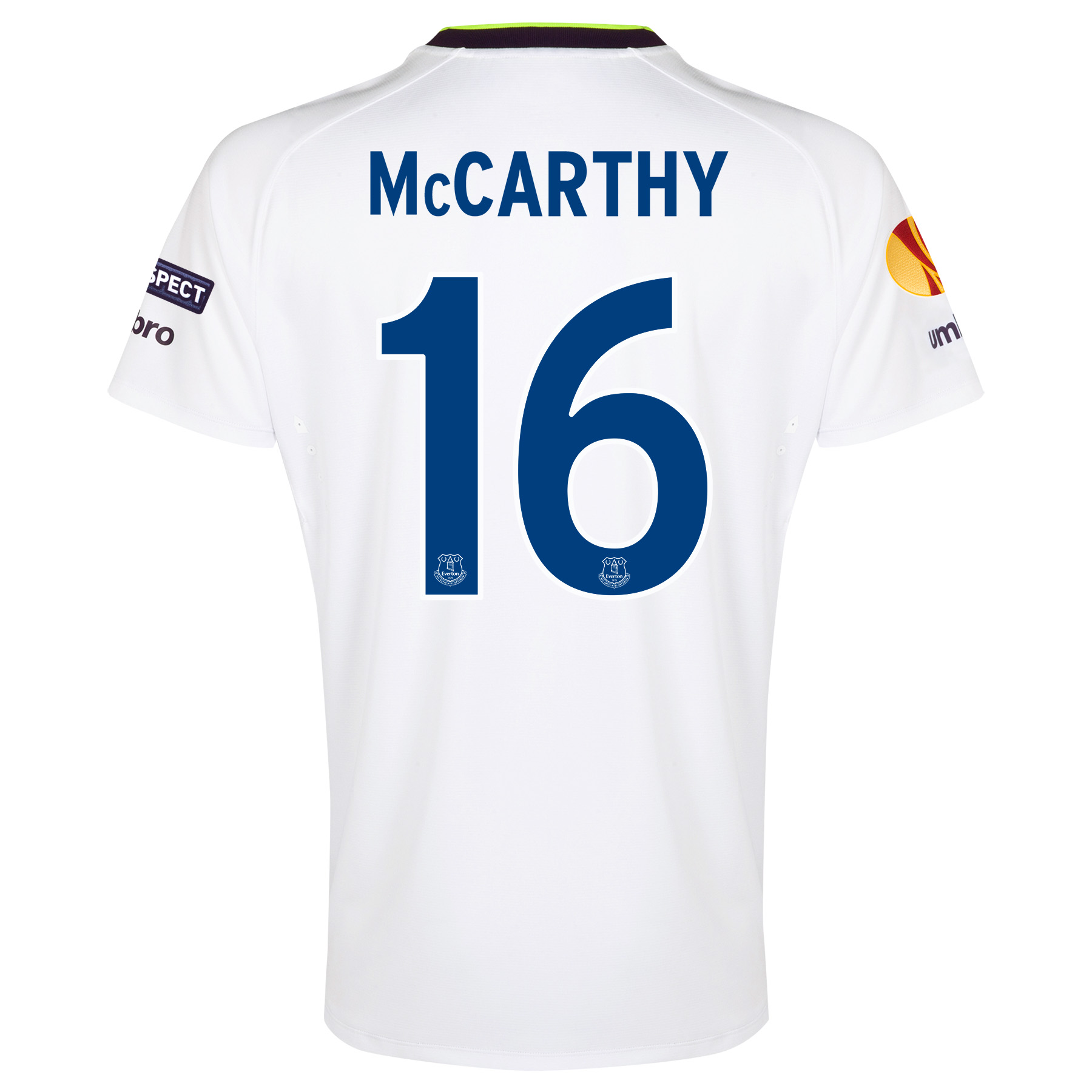 Everton UEFA Europa League 3rd Shirt 2014/15 with McCarthy 16 printing