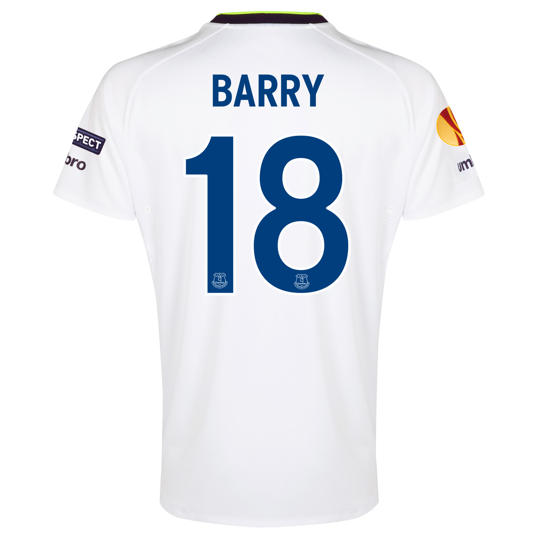 Everton UEFA Europa League 3rd Shirt 2014/15 with Barry 18 printing