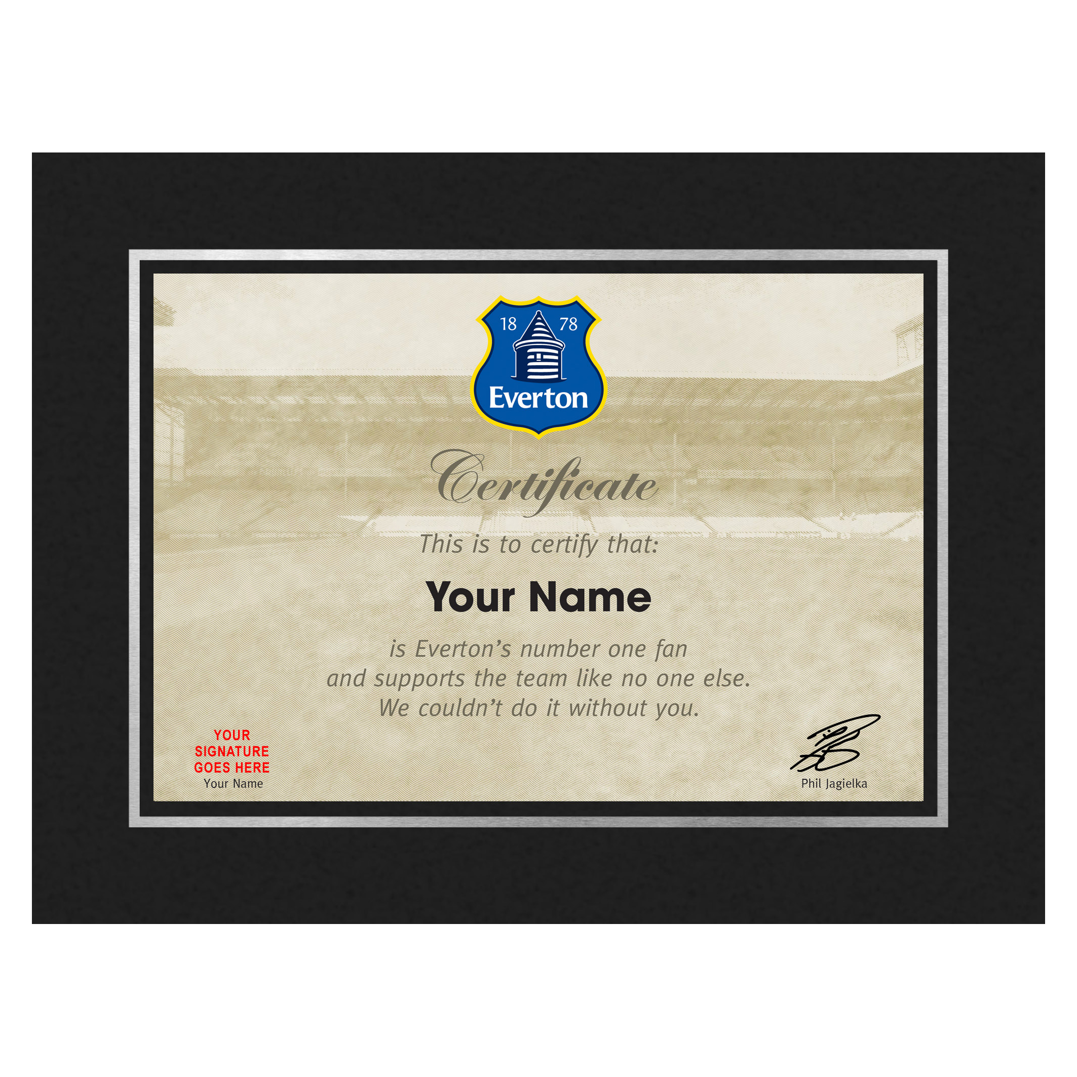 Everton Personalised Number One Fan Certificate