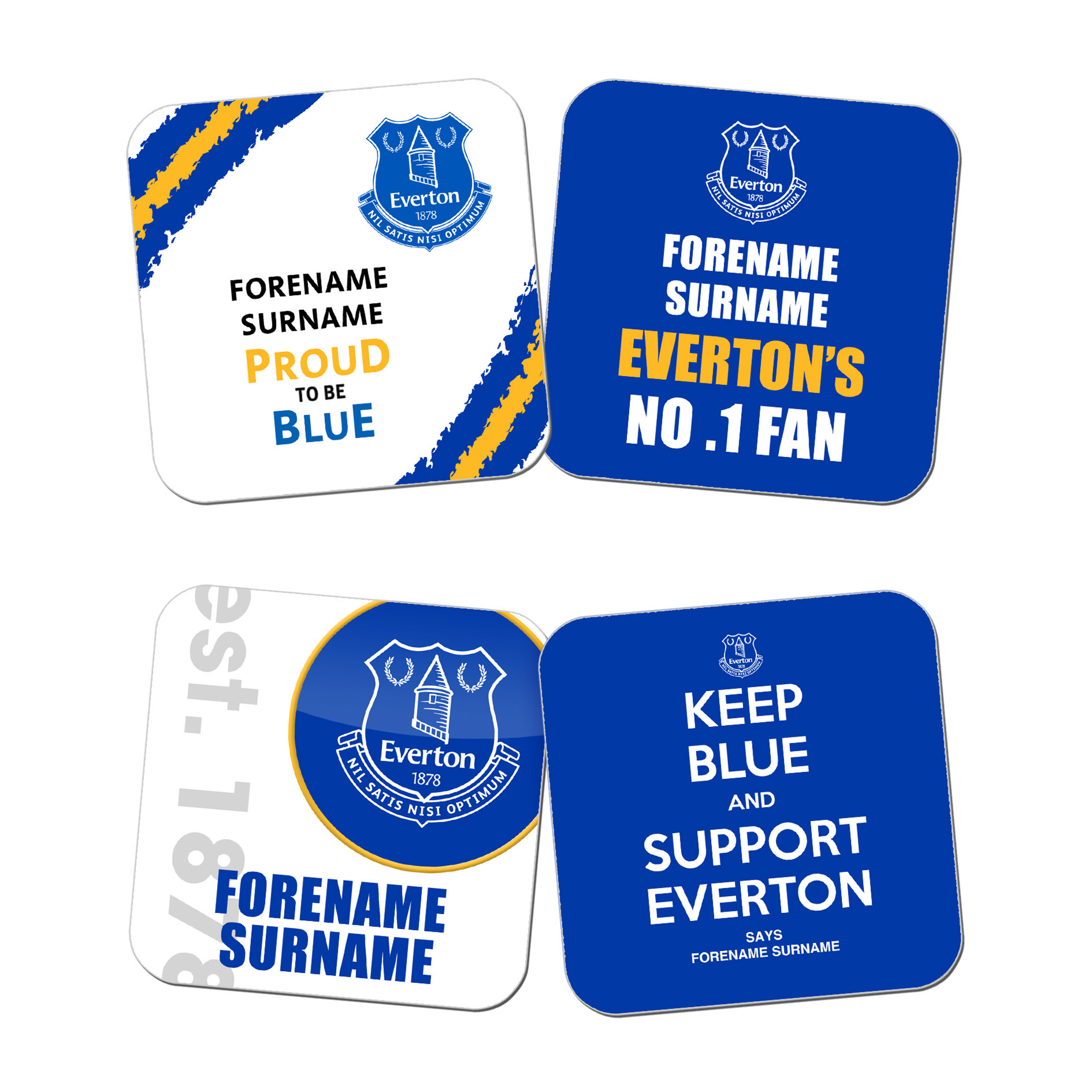 Everton Personalised Coasters 4 Pack