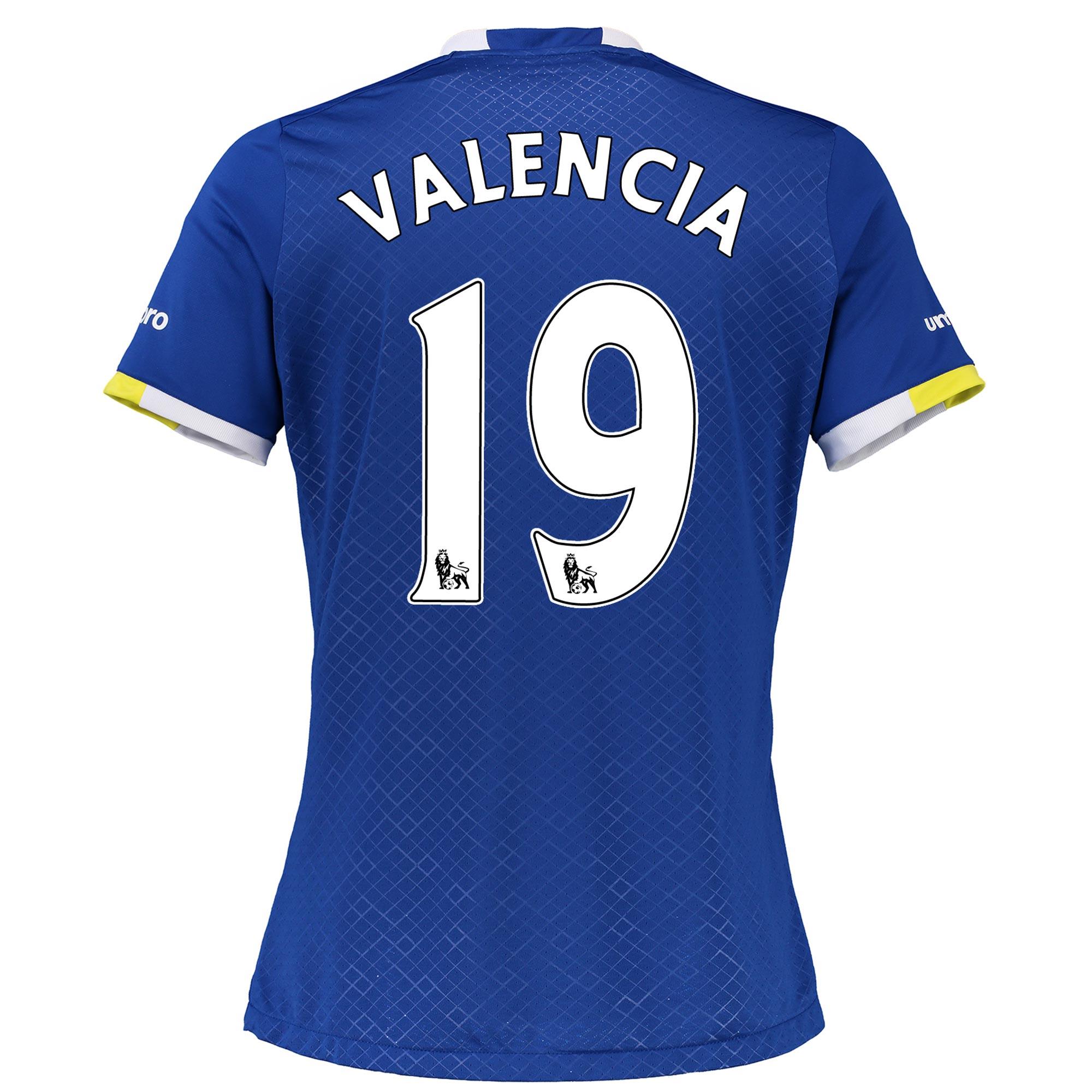 Everton Home Shirt 2016/17 - Womens with Valencia 19 printing