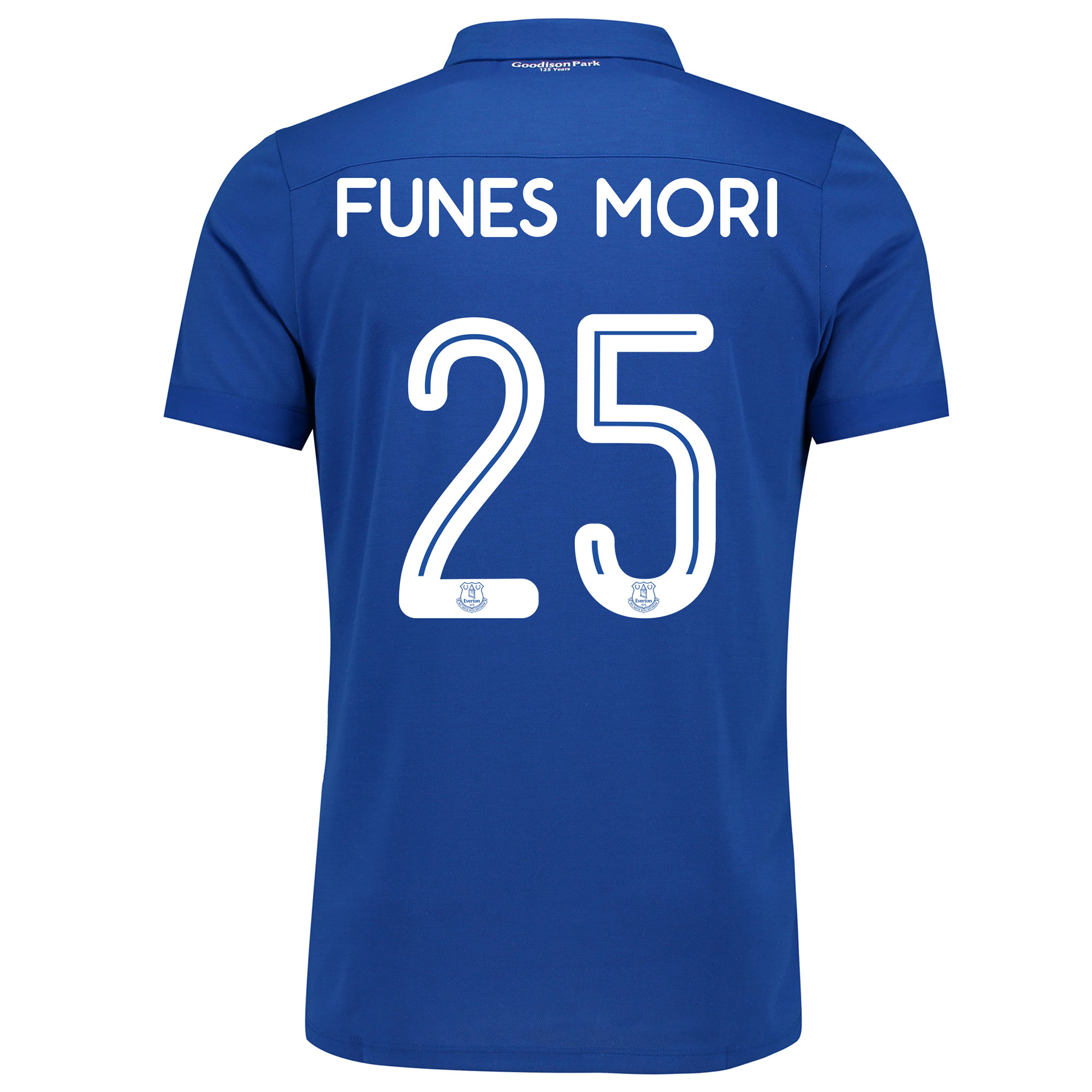 Image of Everton Commemorative Shirt with Funes Mori 25 printing