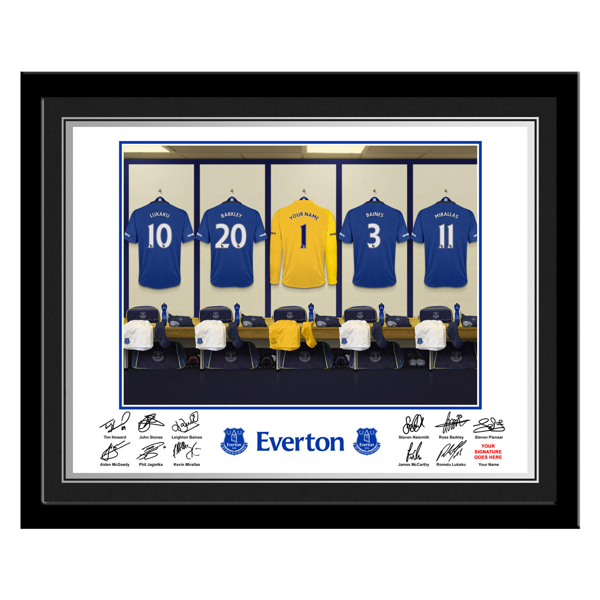 Everton Personalised Goal Keeper Dressing Room Photo Framed