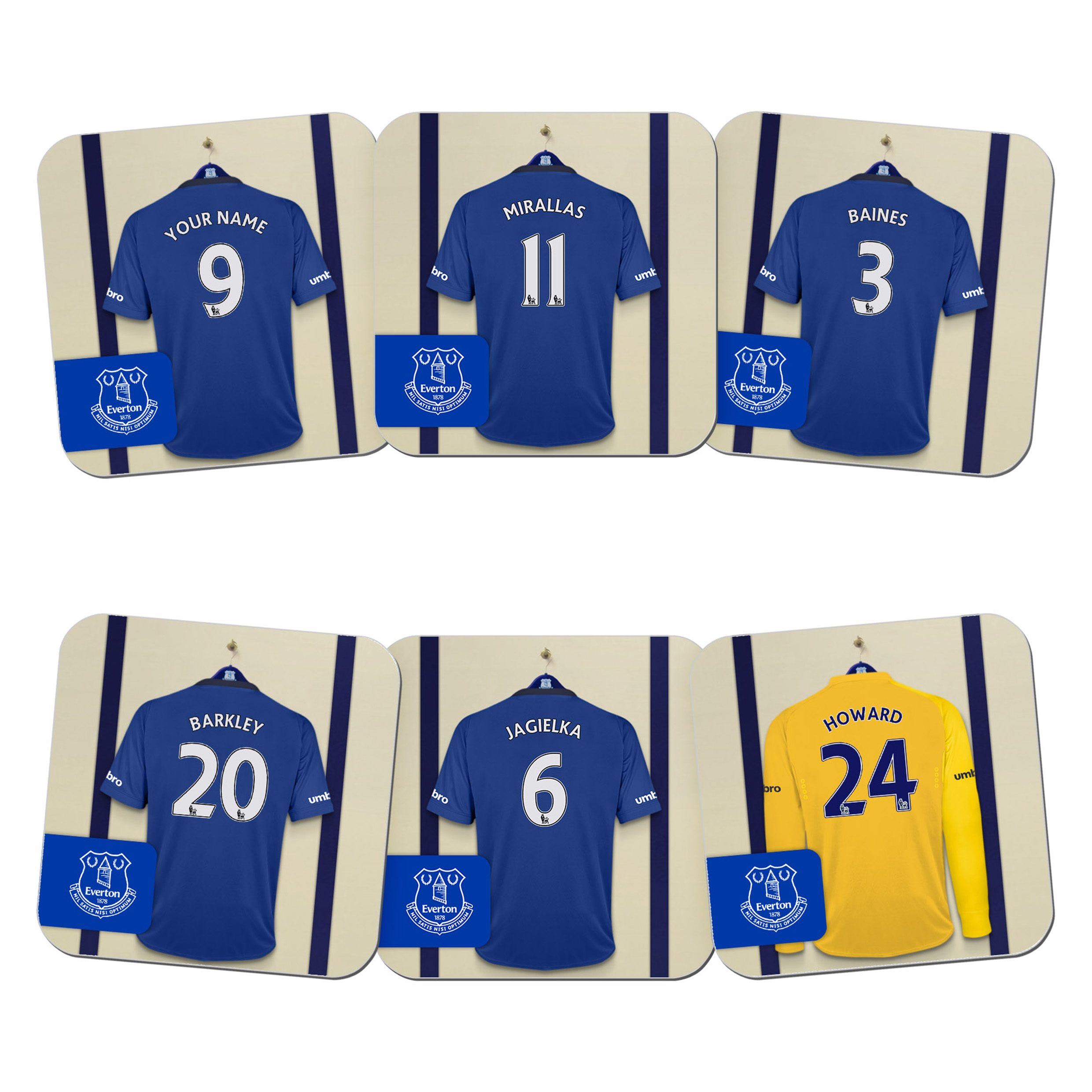 Everton Personalised Dressing Room Coasters 6 Pack