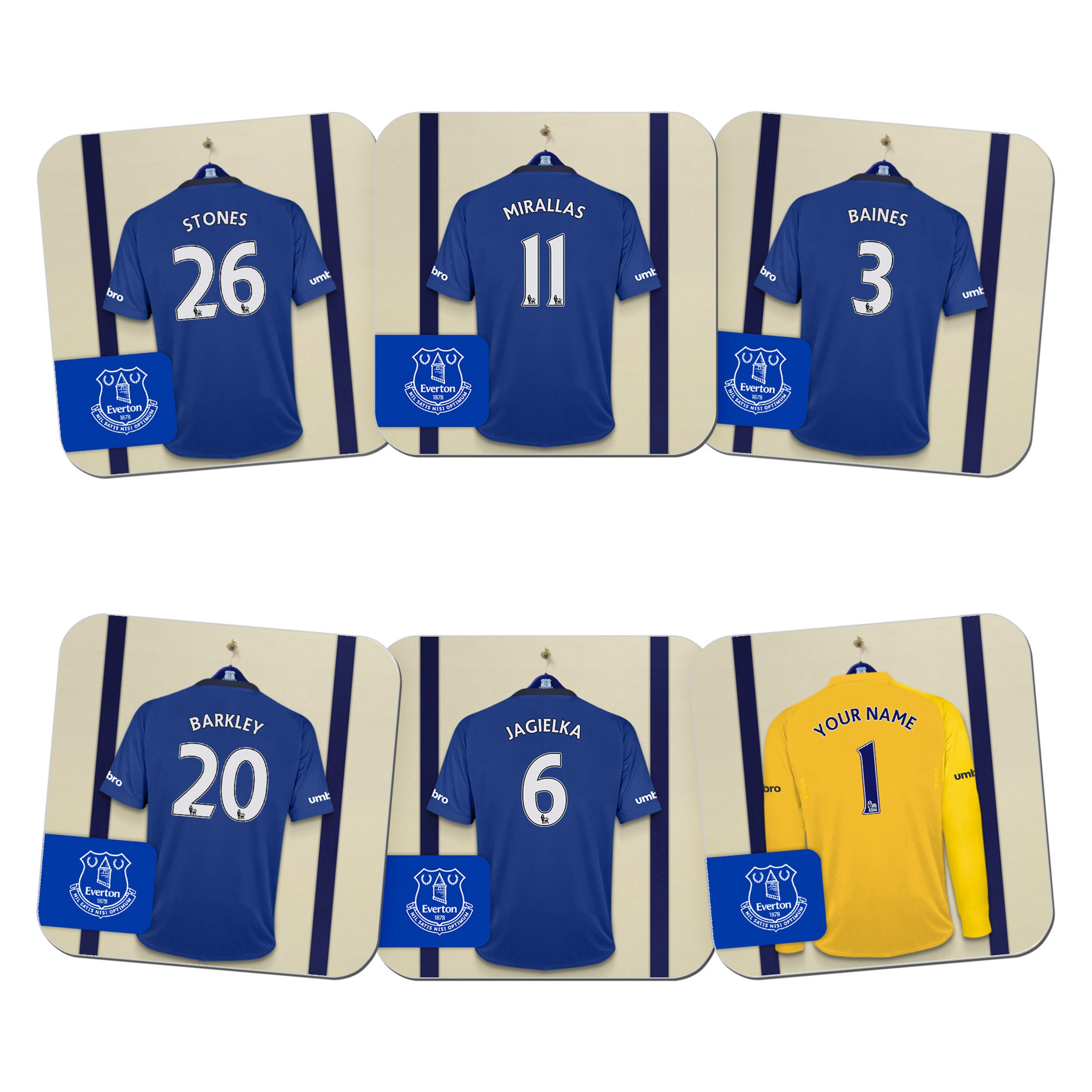 Everton Personalised Goal Keeper Dressing Room Coasters 6 Pack