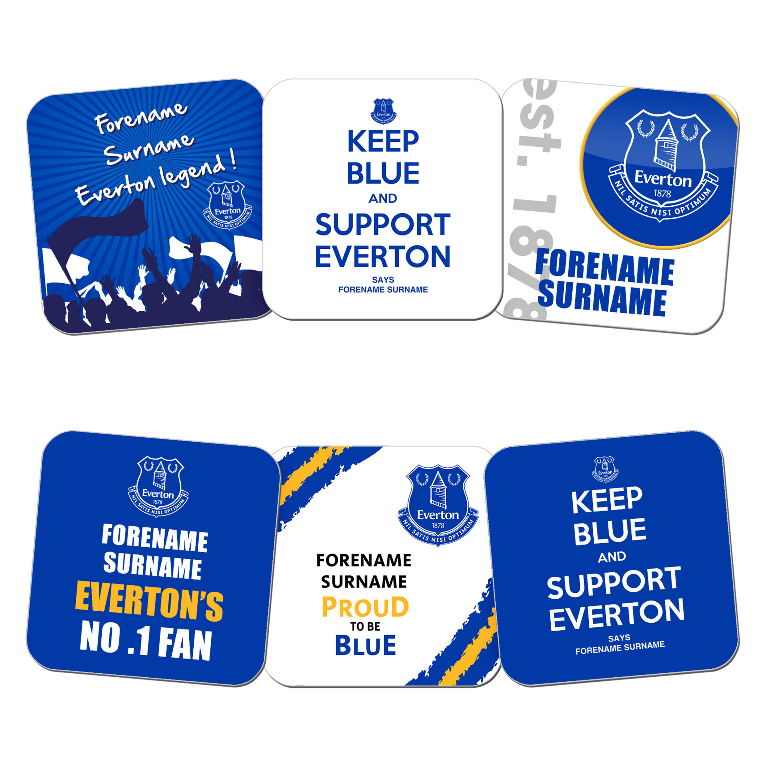Everton Personalised Coasters 6 Pack