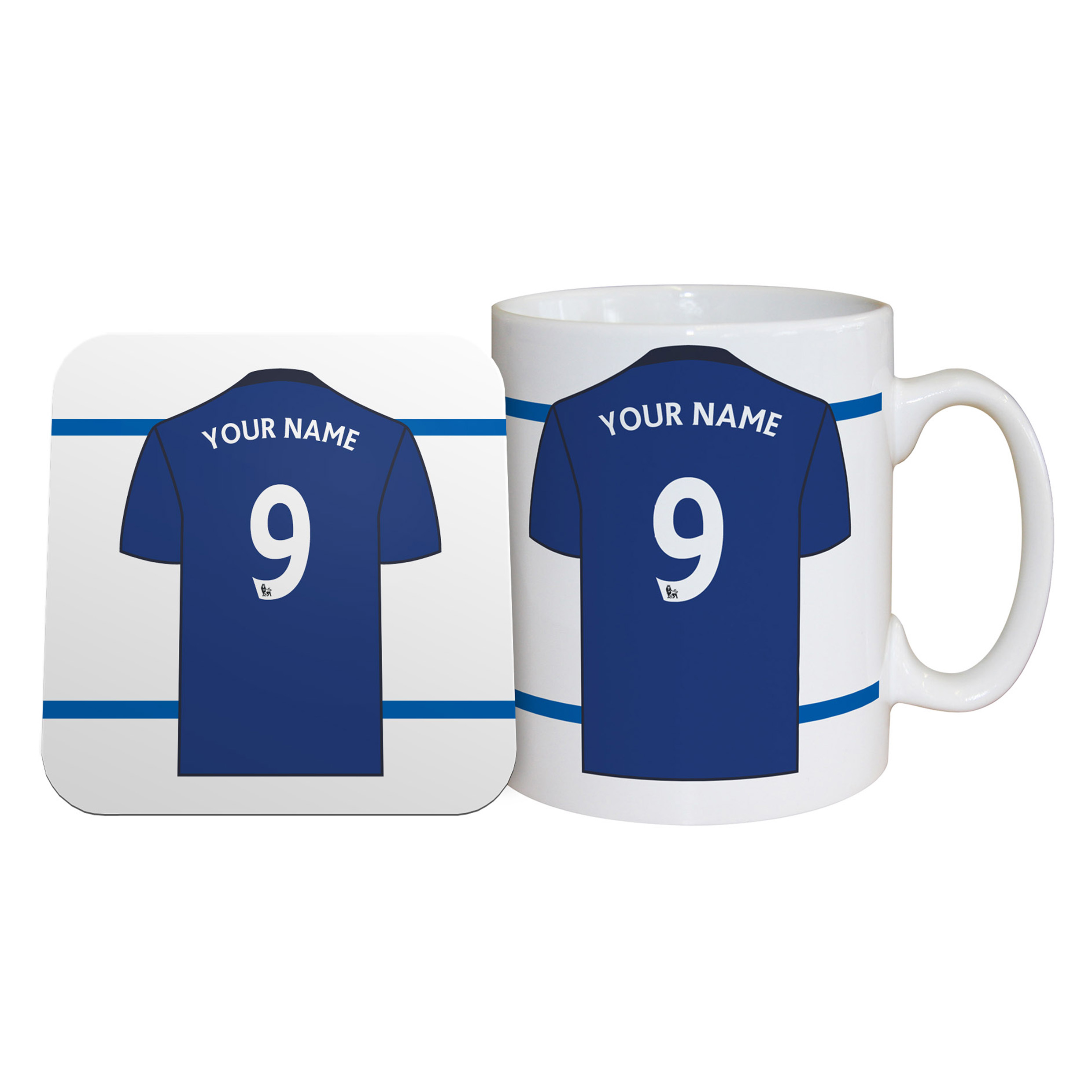 Everton Personalised Shirt Coaster and Mug Set
