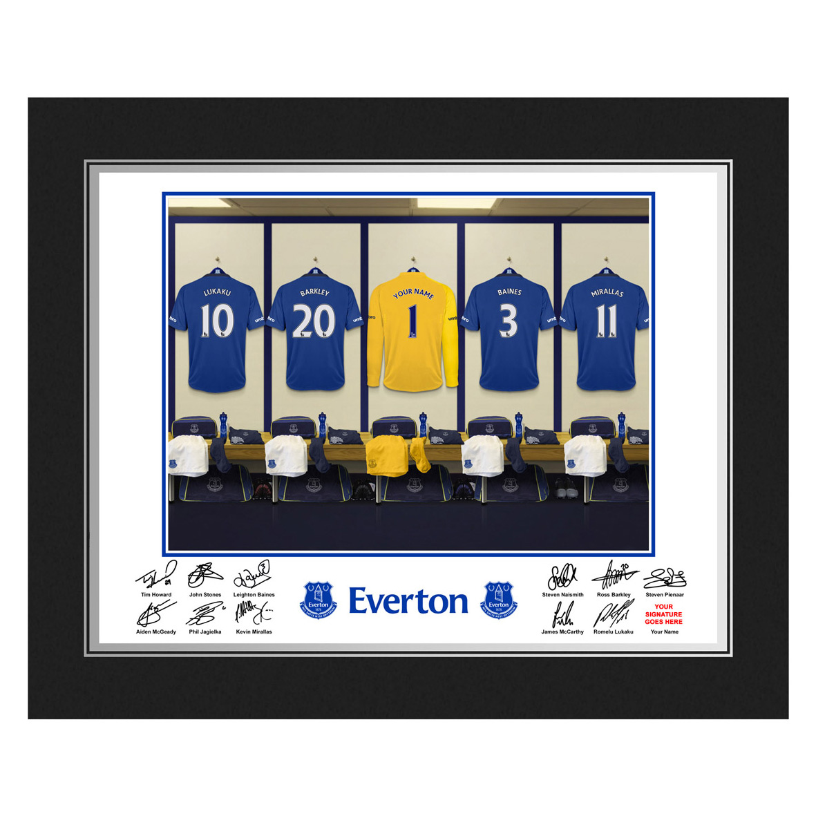 Everton Personalised Goal Keeper Dressing Room Photo in Presentation Folder
