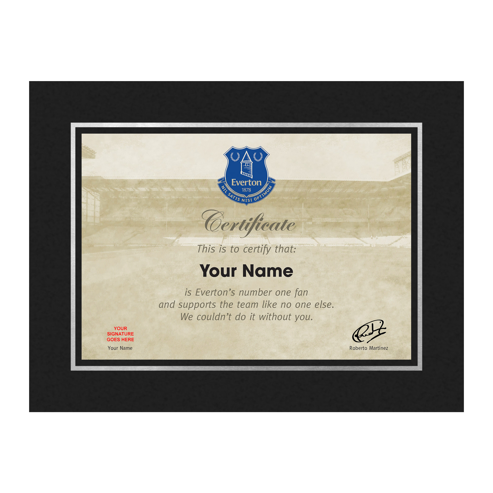 Everton Personalised Number One Fan Certificate Double