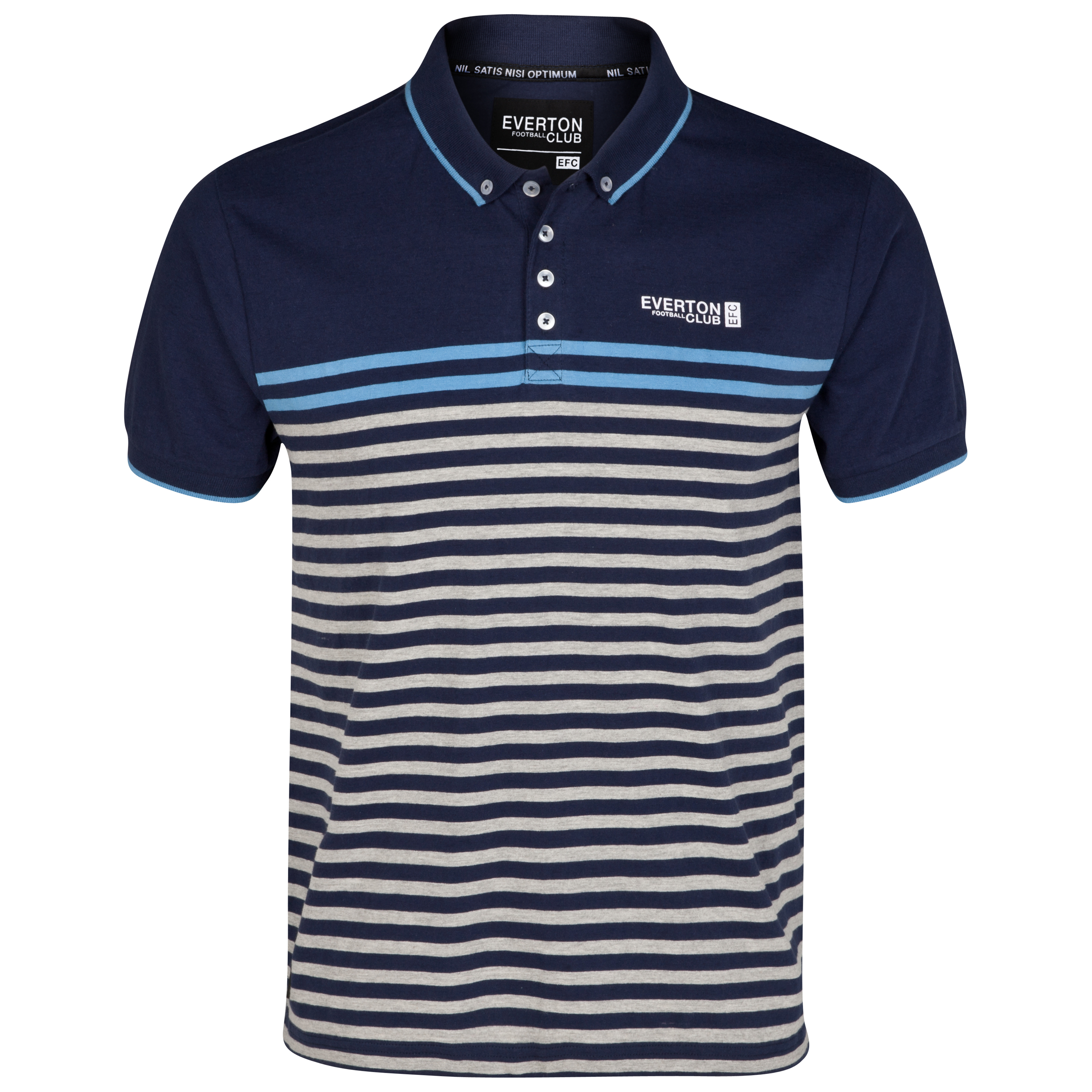 Everton Flatline Polo Top - Navy/Grey Marl/Denim