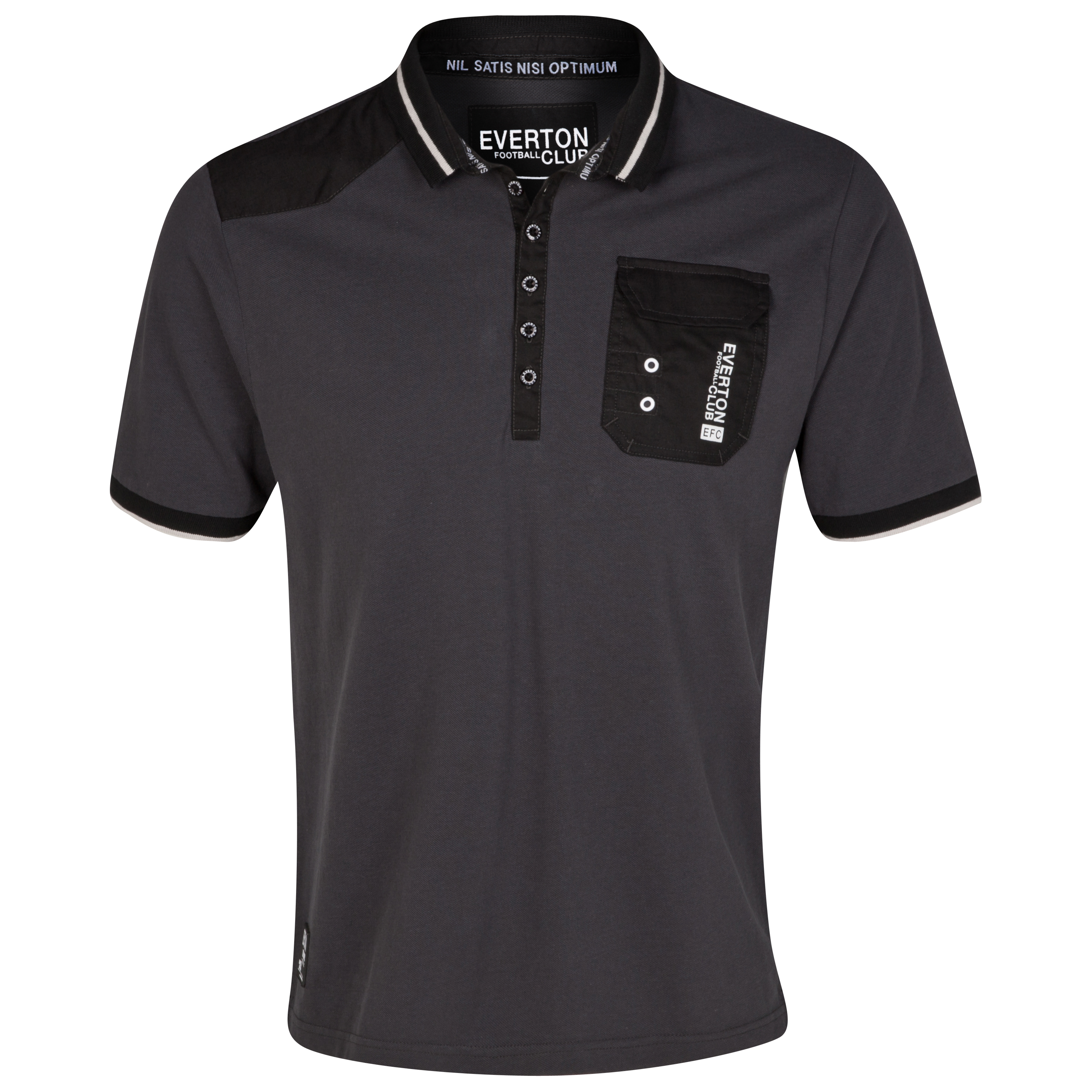 Everton Patch Polo Top - Charcoal