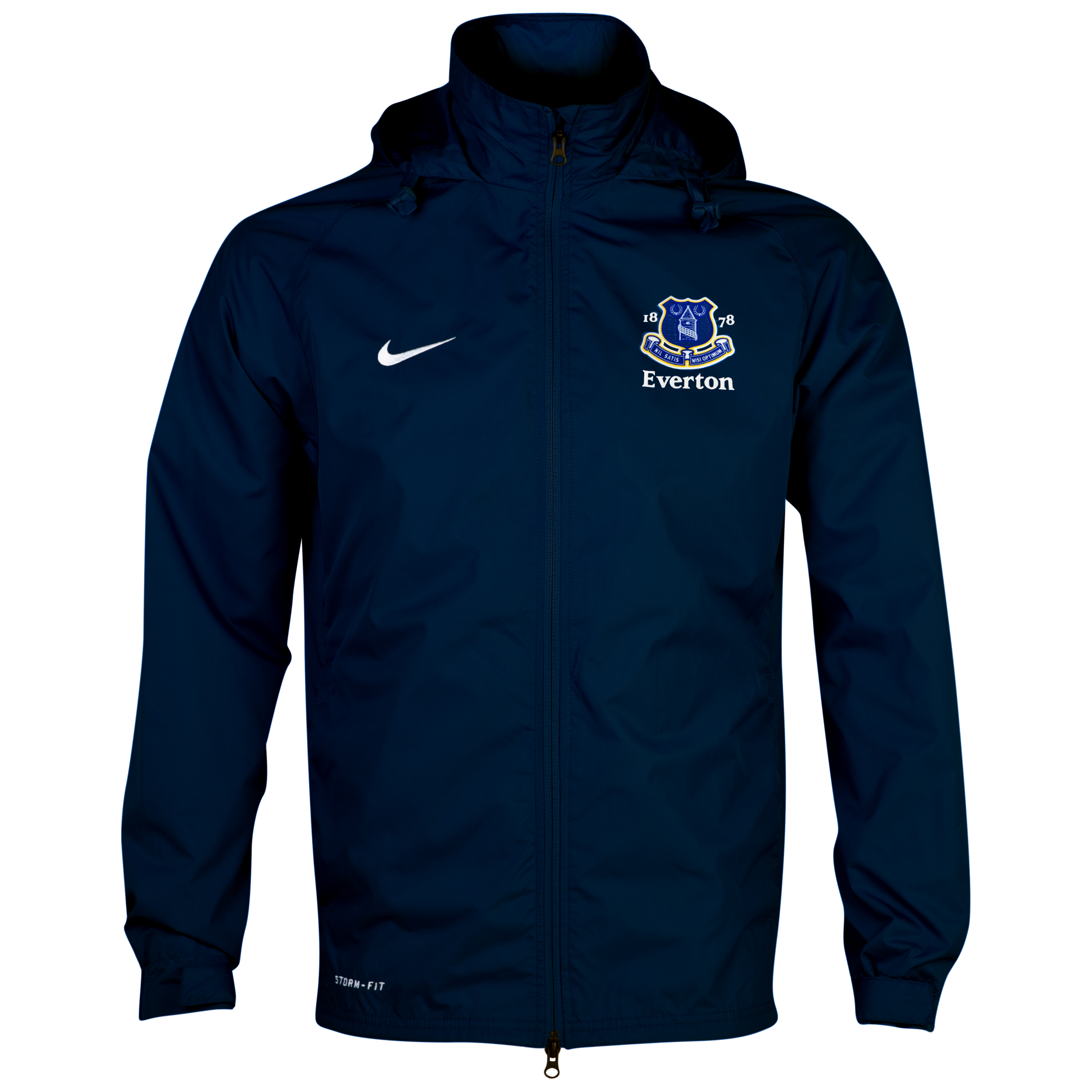 Everton Hooded Rain Jacket  - Obsidian/White