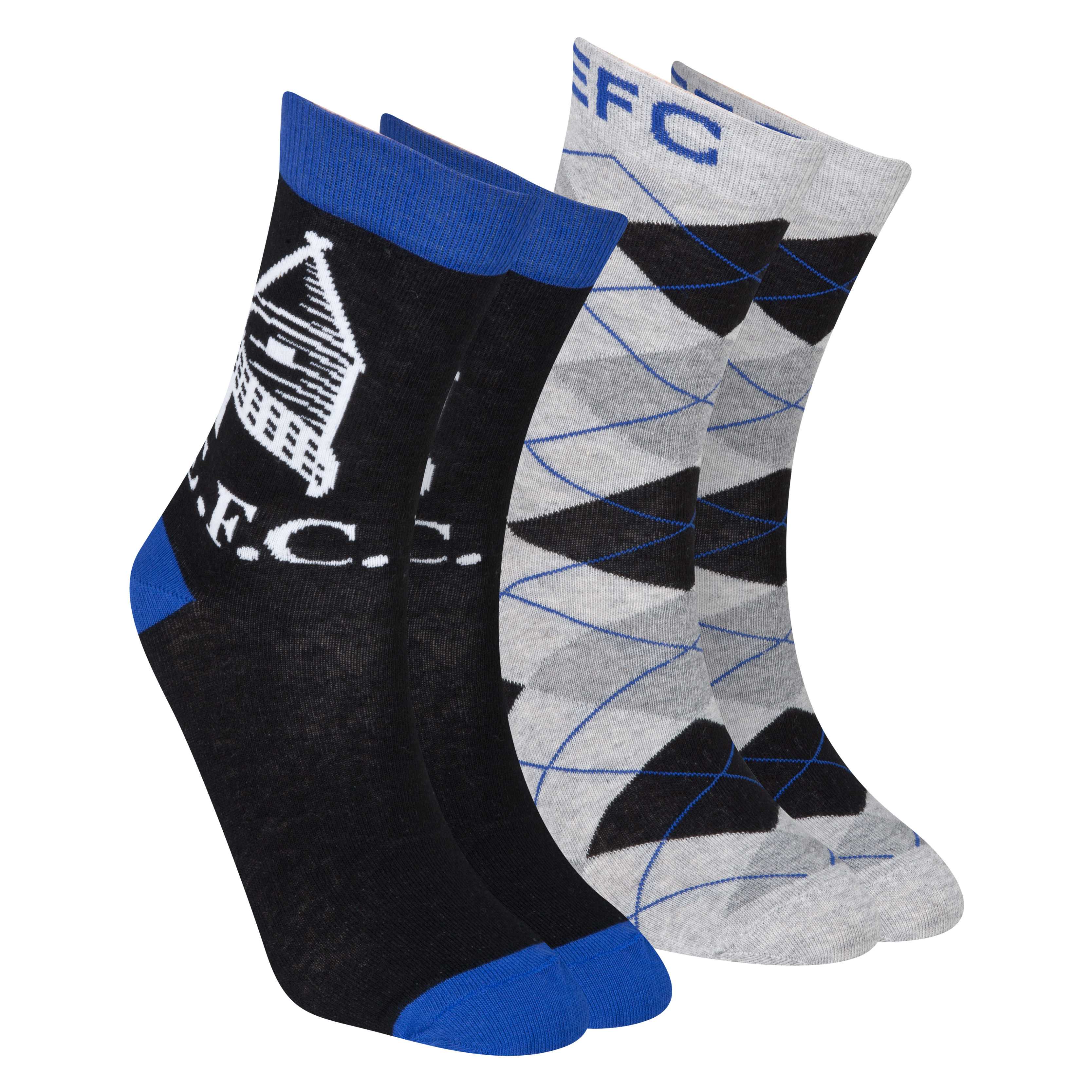 Everton Pack of 2 Dress Sock - Black/Everton Blue/Grey