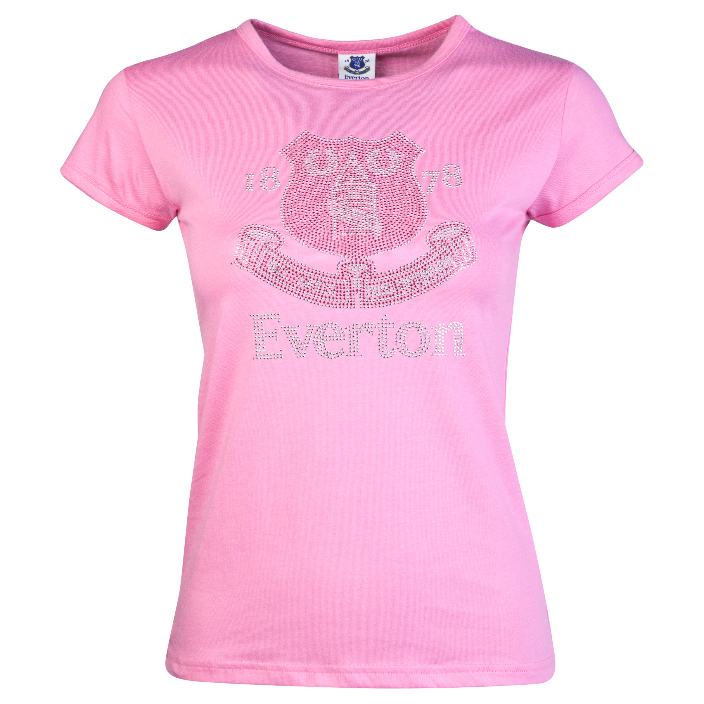 Everton Rhinestone T-Shirt - Pink - Womens