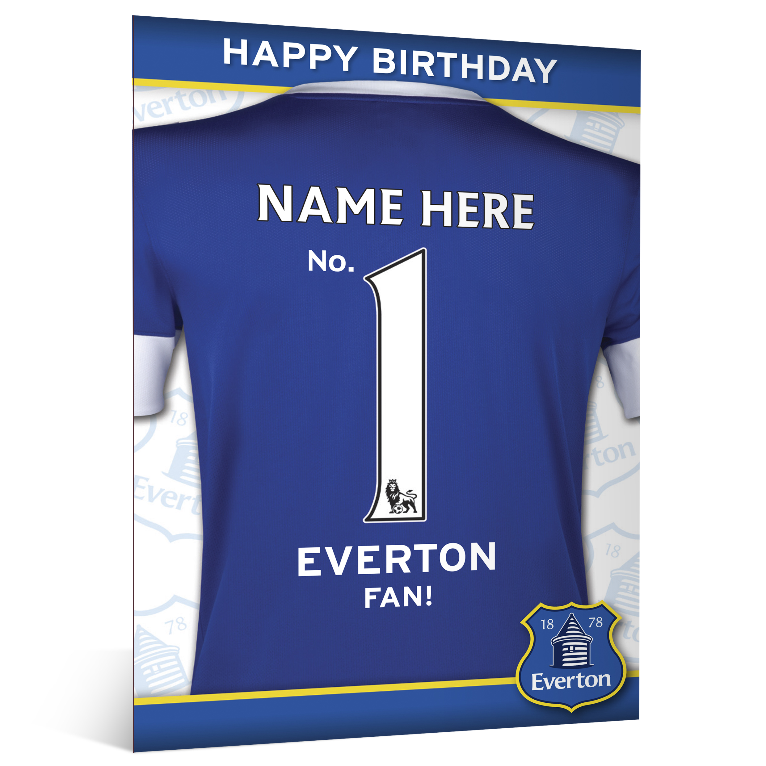 Everton Personalised Happy Birthday Card - No. 1 Fan