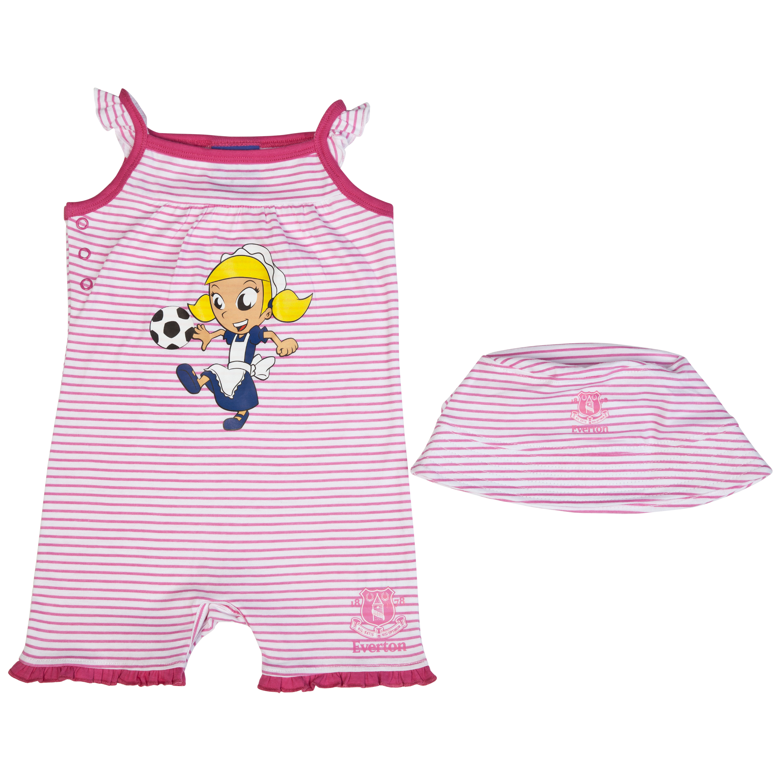 Everton Toffee Girl Romper and Hat - Pink/White - Baby