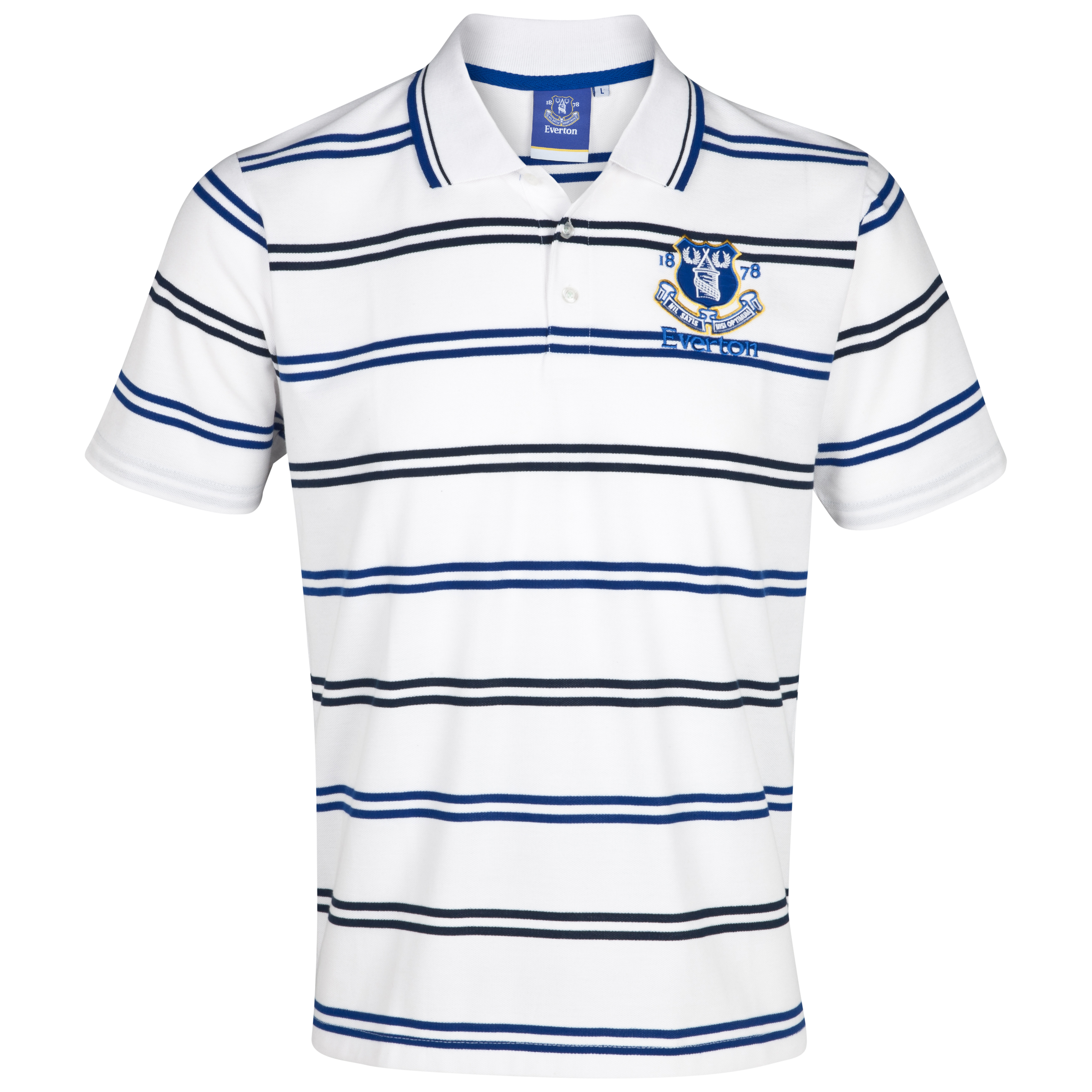 Everton Essentials Lineup Polo Top - White/Royal/Navy - Older Boys