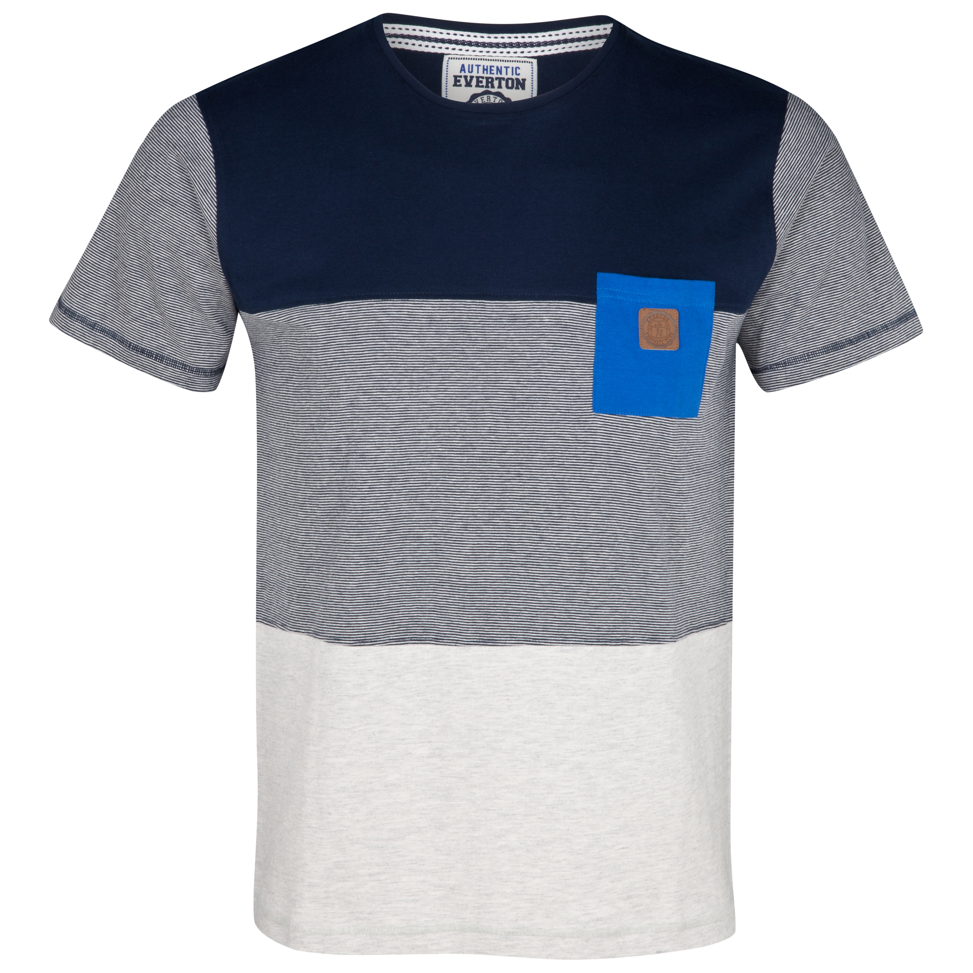 Everton Panels T-Shirt	 - Navy/Ecru Marl