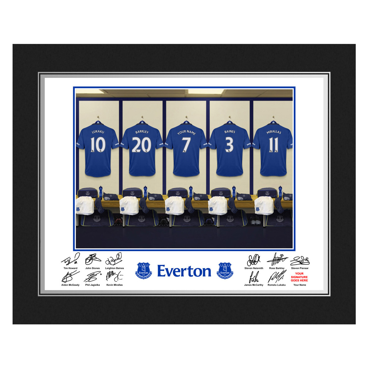 Everton Personalised Dressing Room Photo in Presentation Folder
