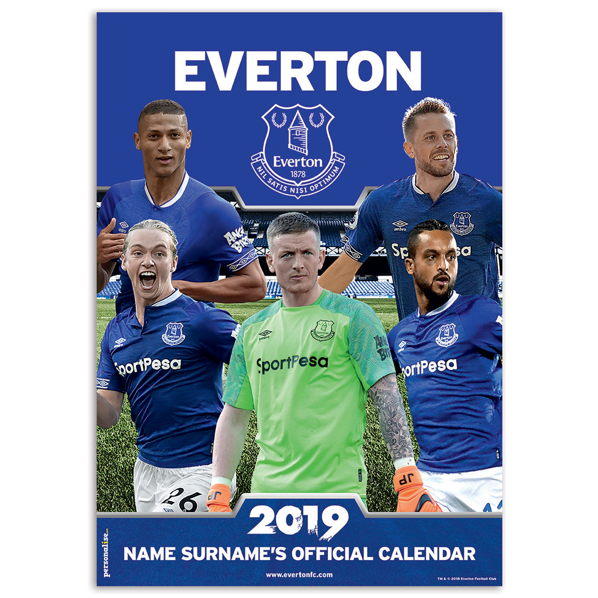 Everton 2013 Personalised Calendar