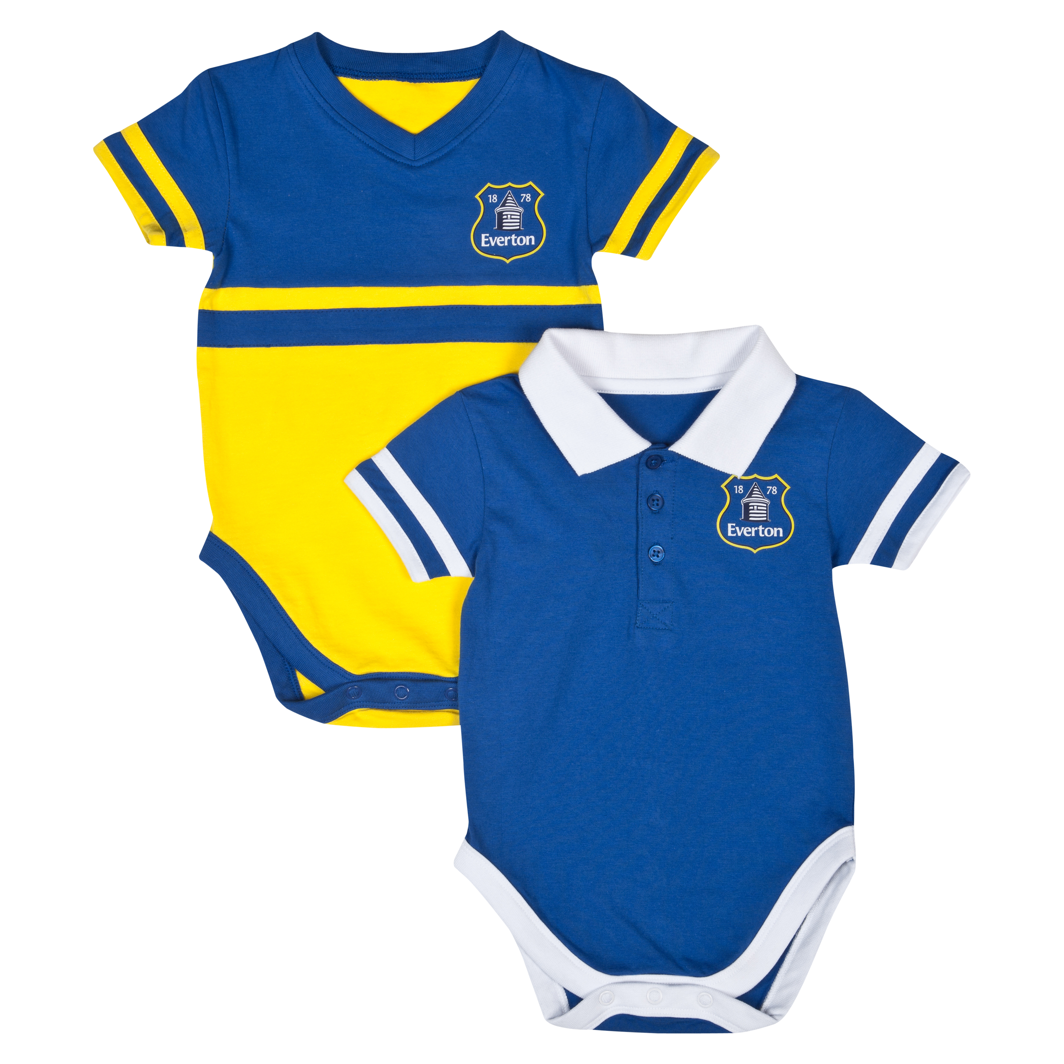 Everton 12/14 Kit Home and Away Bodysuits - Blue/Yellow - Baby