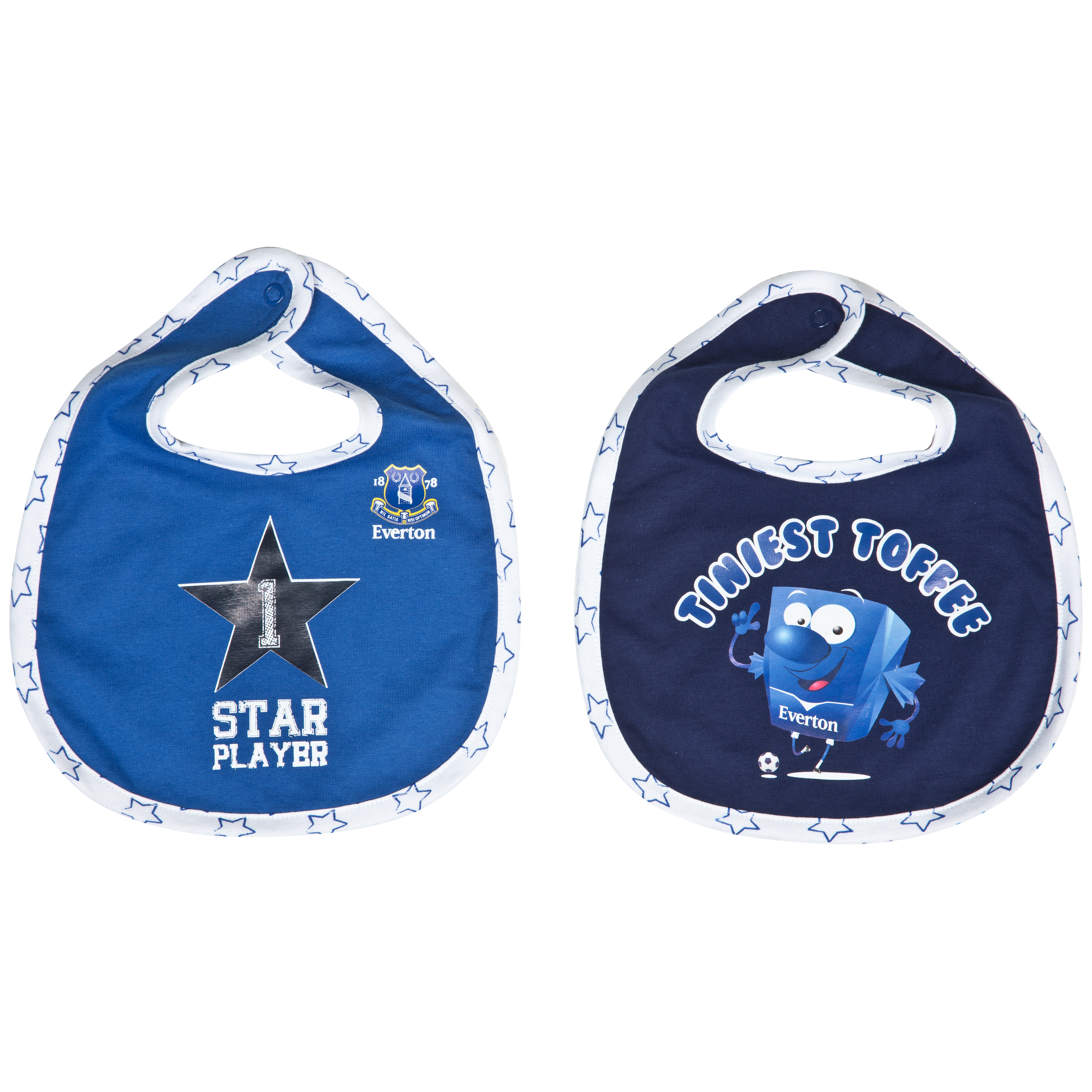 Everton Star Pack of 2 Bibs - Navy/Everton Blue - Baby