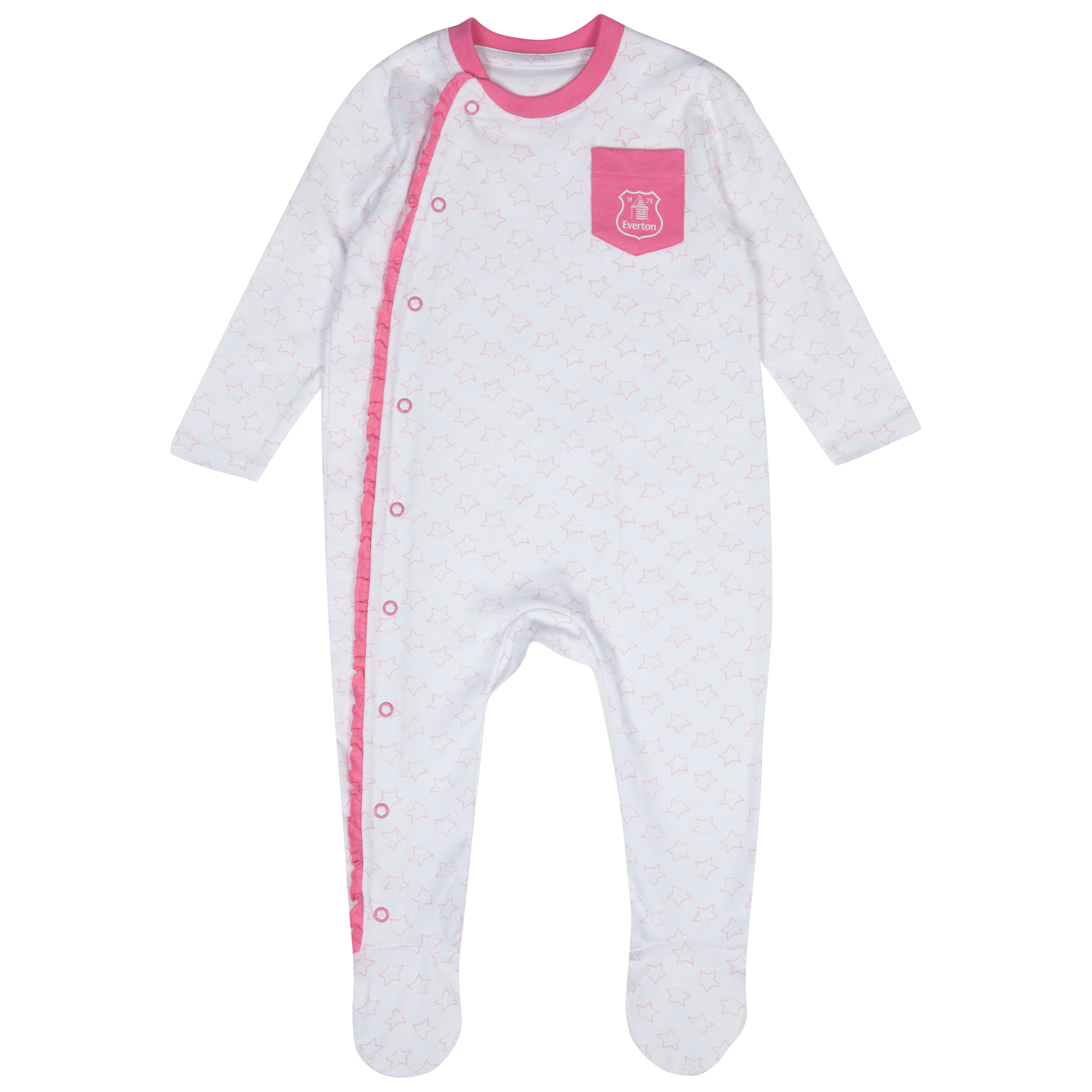 Everton Frill Sleepsuit - White/Pink - Baby
