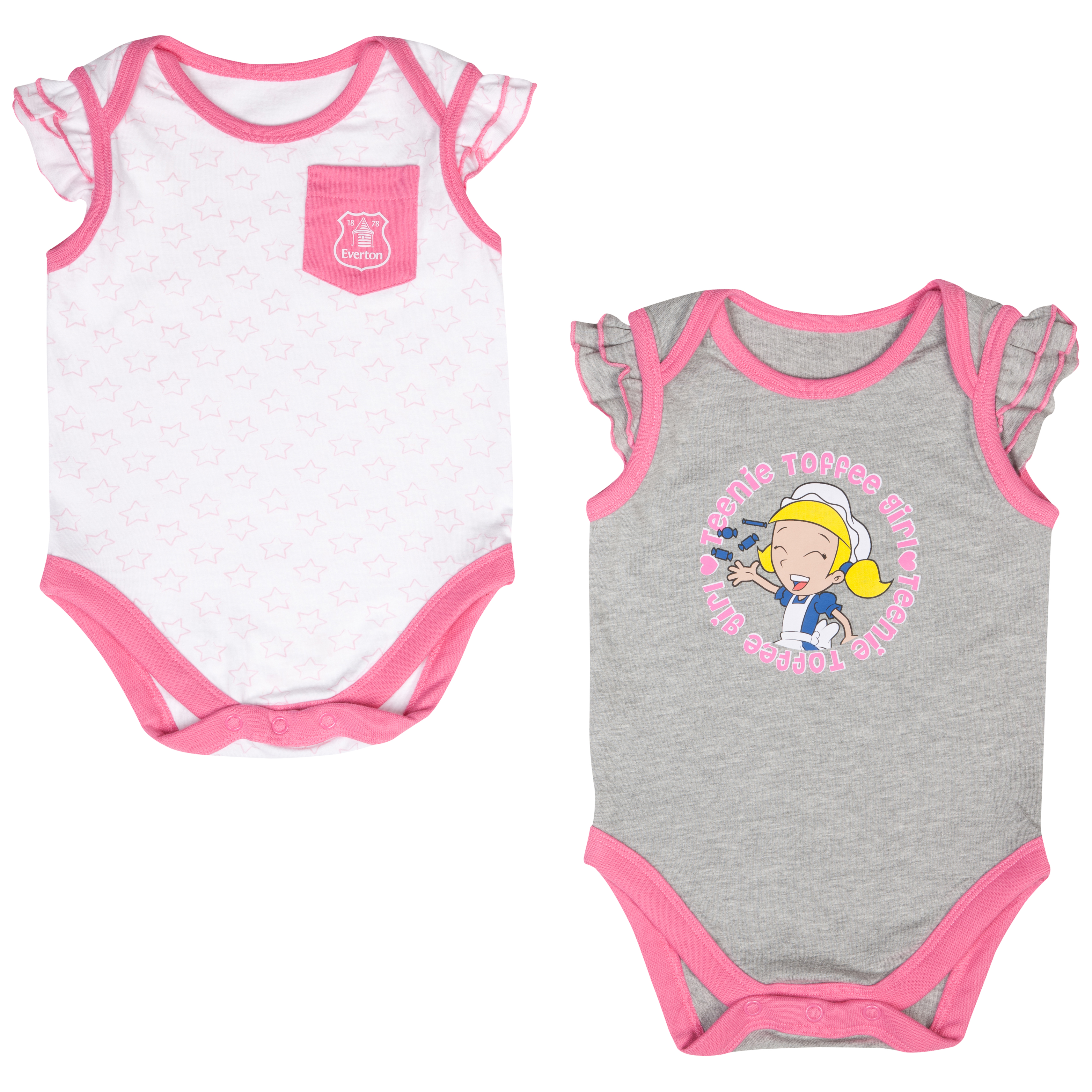 Everton Mascot Bodysuits - Pink/White/Grey - Baby