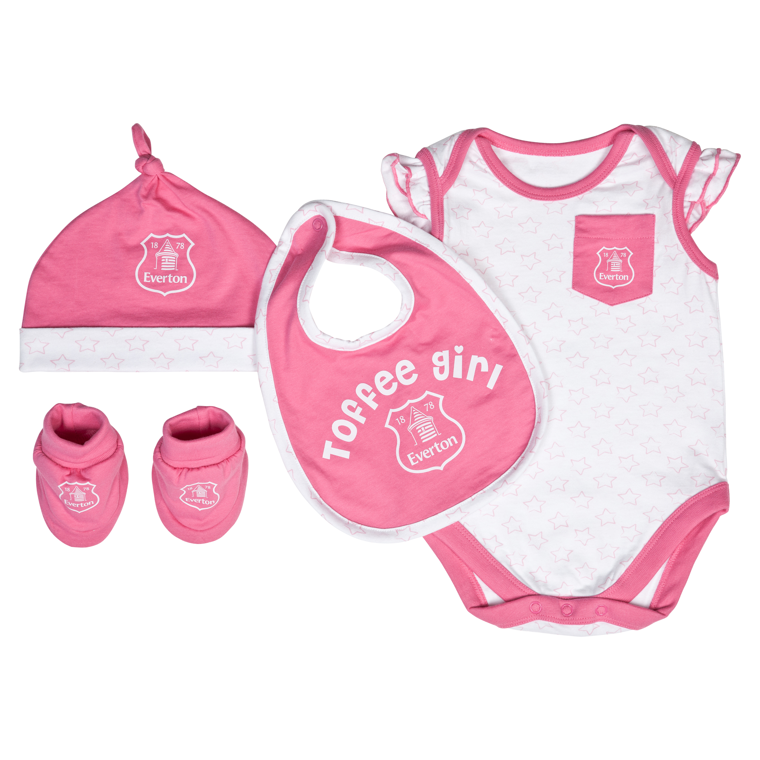 Everton Stars Gift Set - White/Pink - Baby