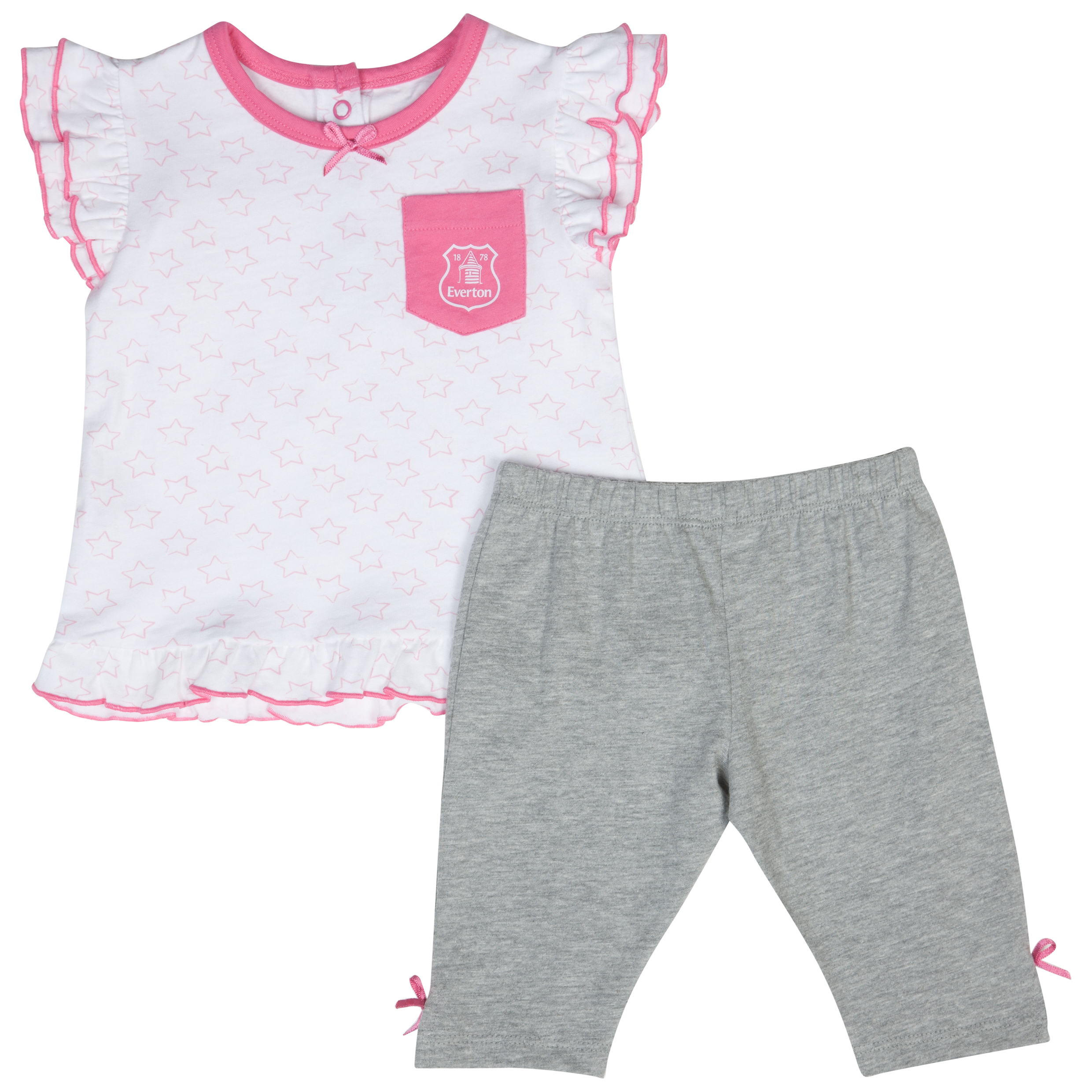 Everton Stars 2 Piece Set - Grey/White/Pink - Baby