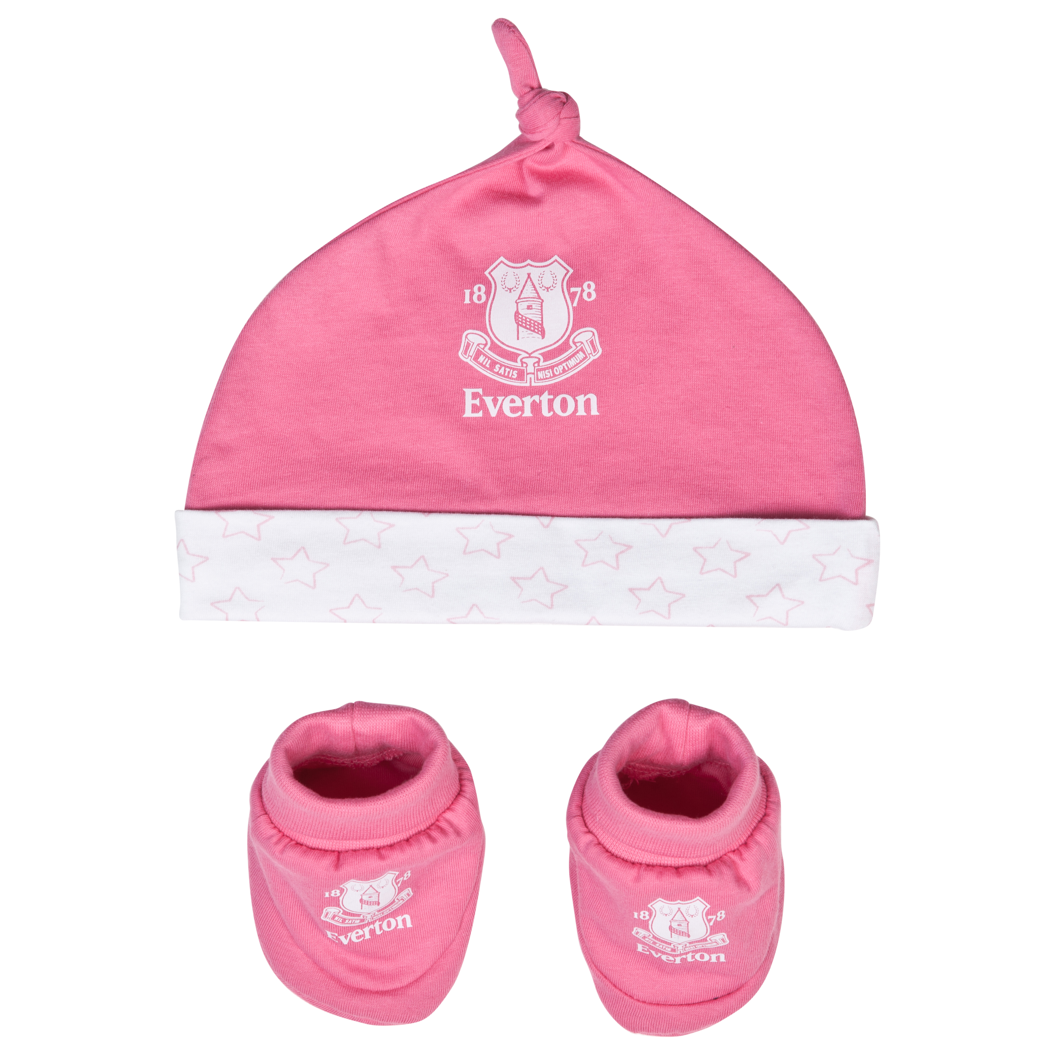 Everton Crest Hat and Booties - Pink/White - Baby