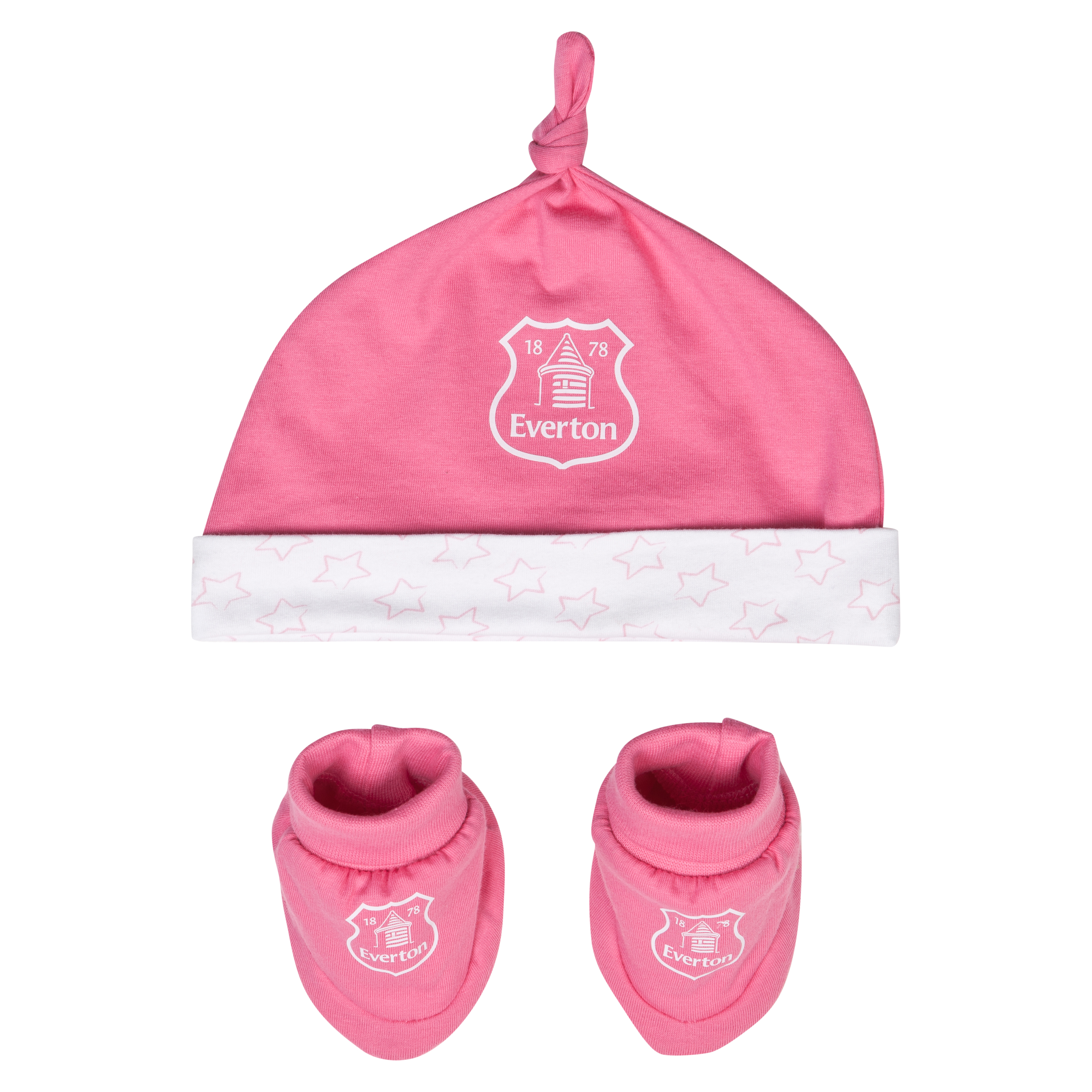 Everton Stars Hat and Booties - Pink/White - Baby