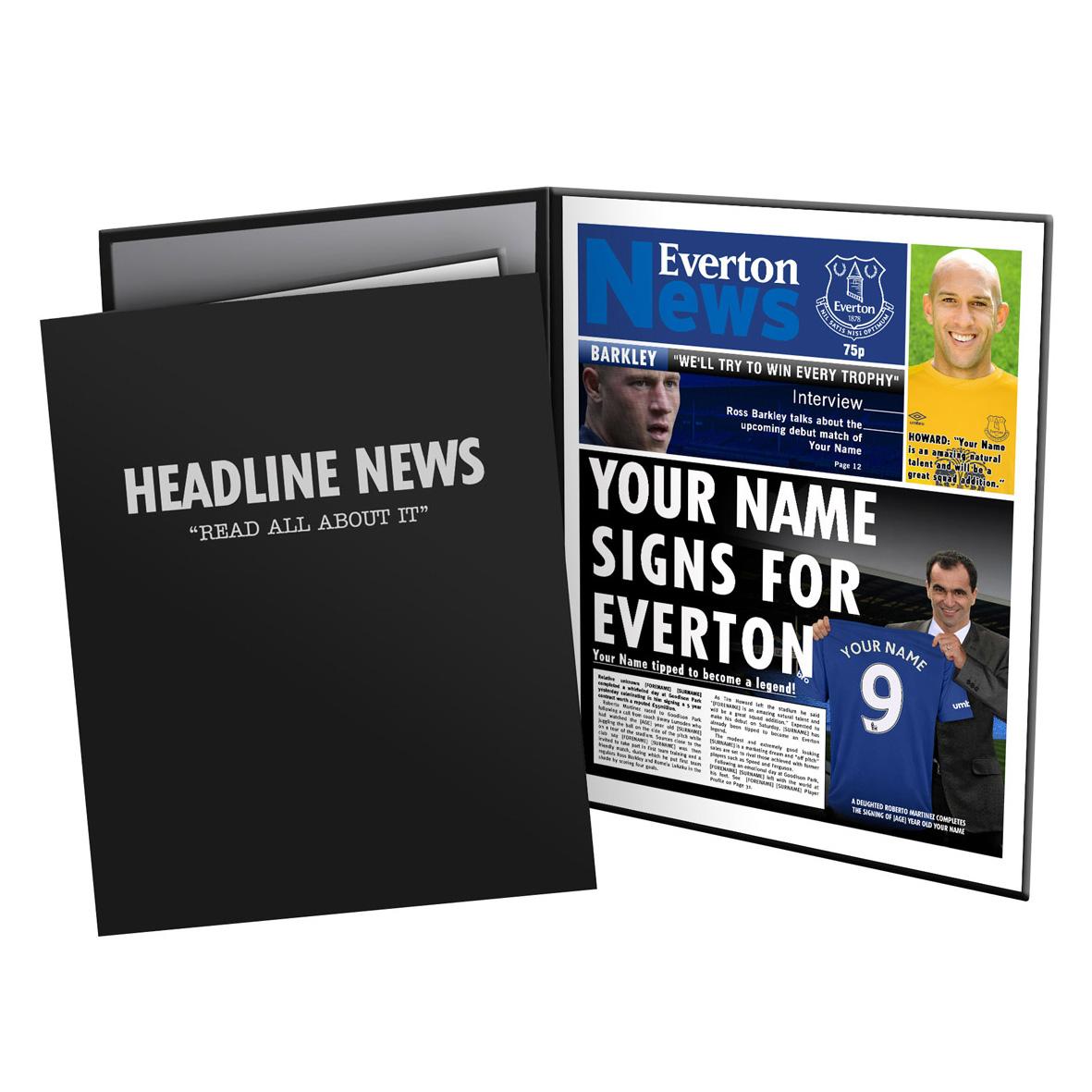 Everton Personalised Newspaper in Presentation Folder