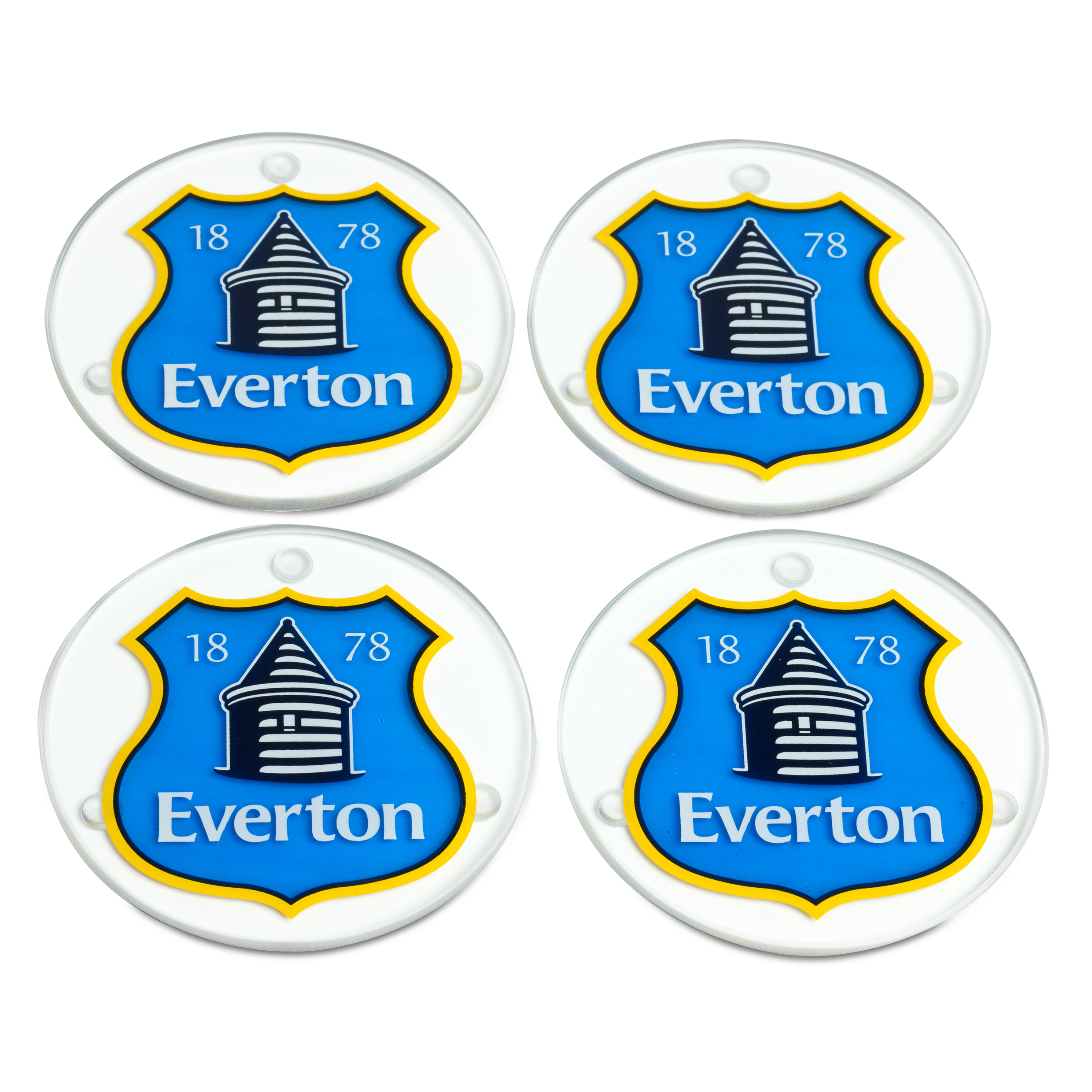Everton Round Glass Coaster Set