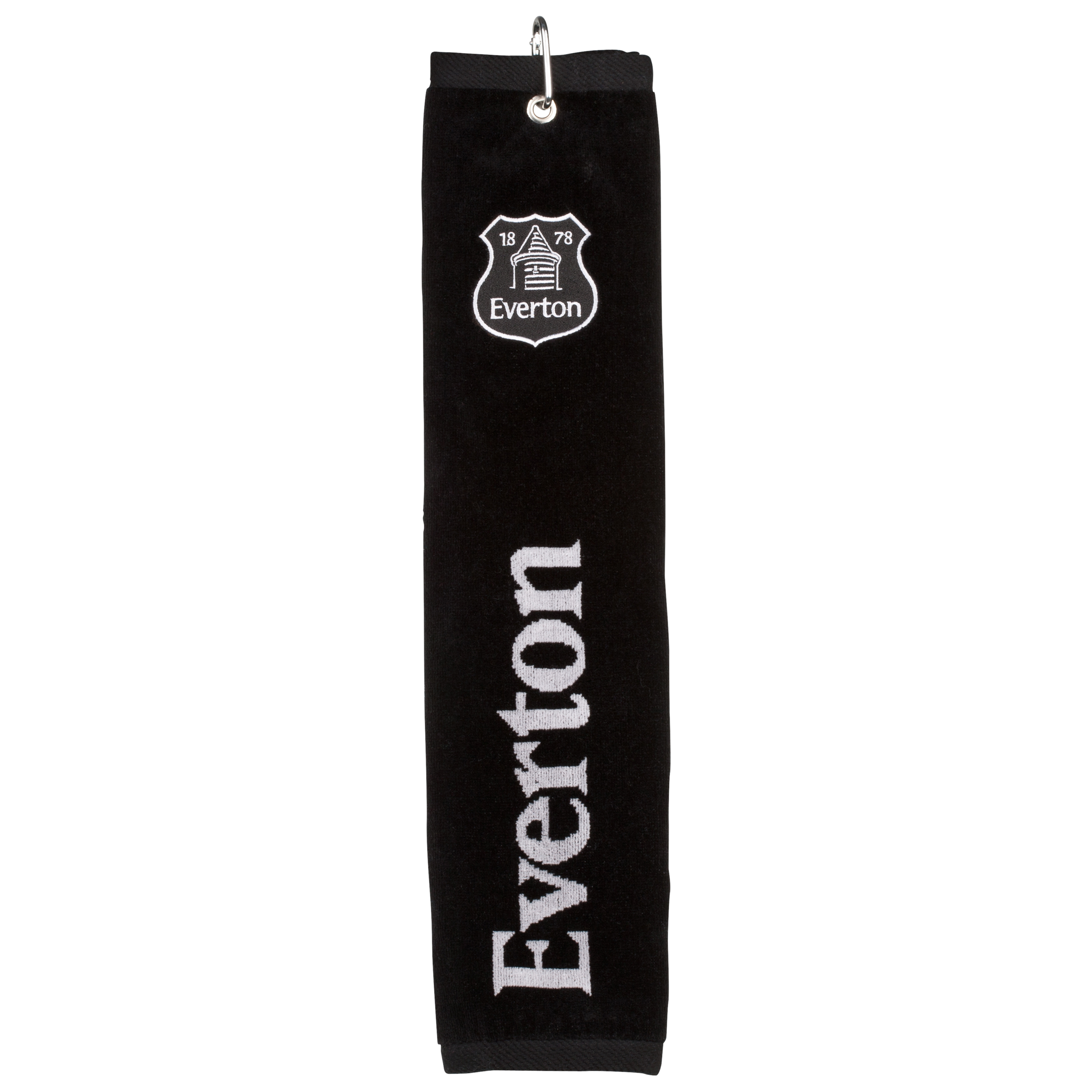 Everton Executive Golf Tri Fold Towel - Black/Silver